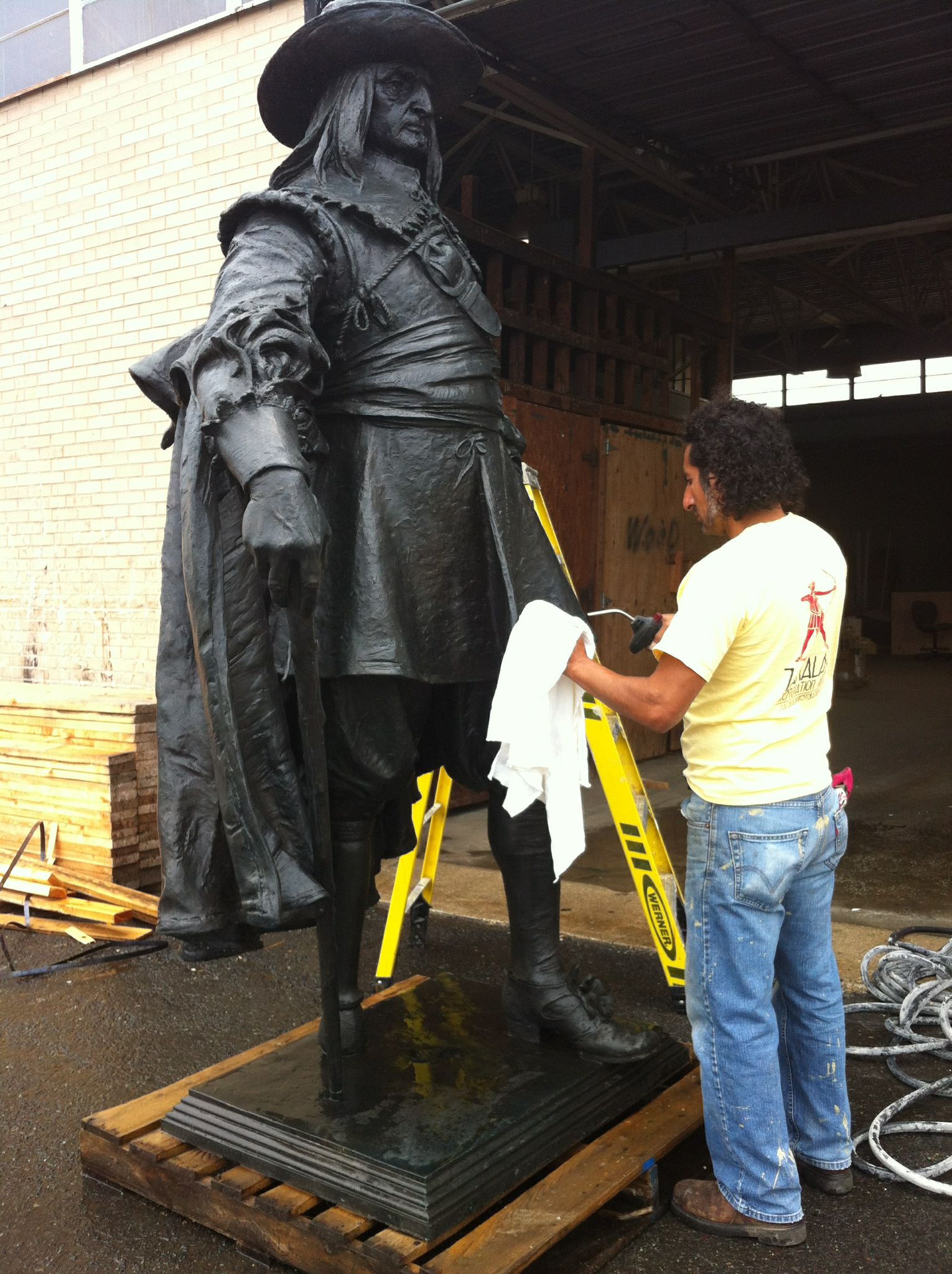 Peter being cleaned upon being removed from storage,