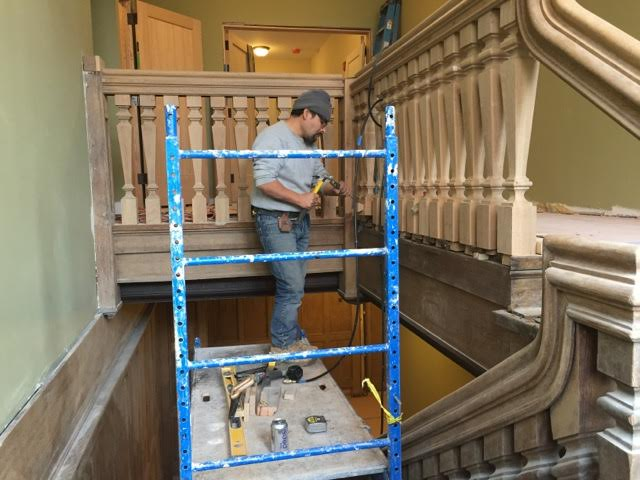 Pictured above: rebuilding the grand staircase.