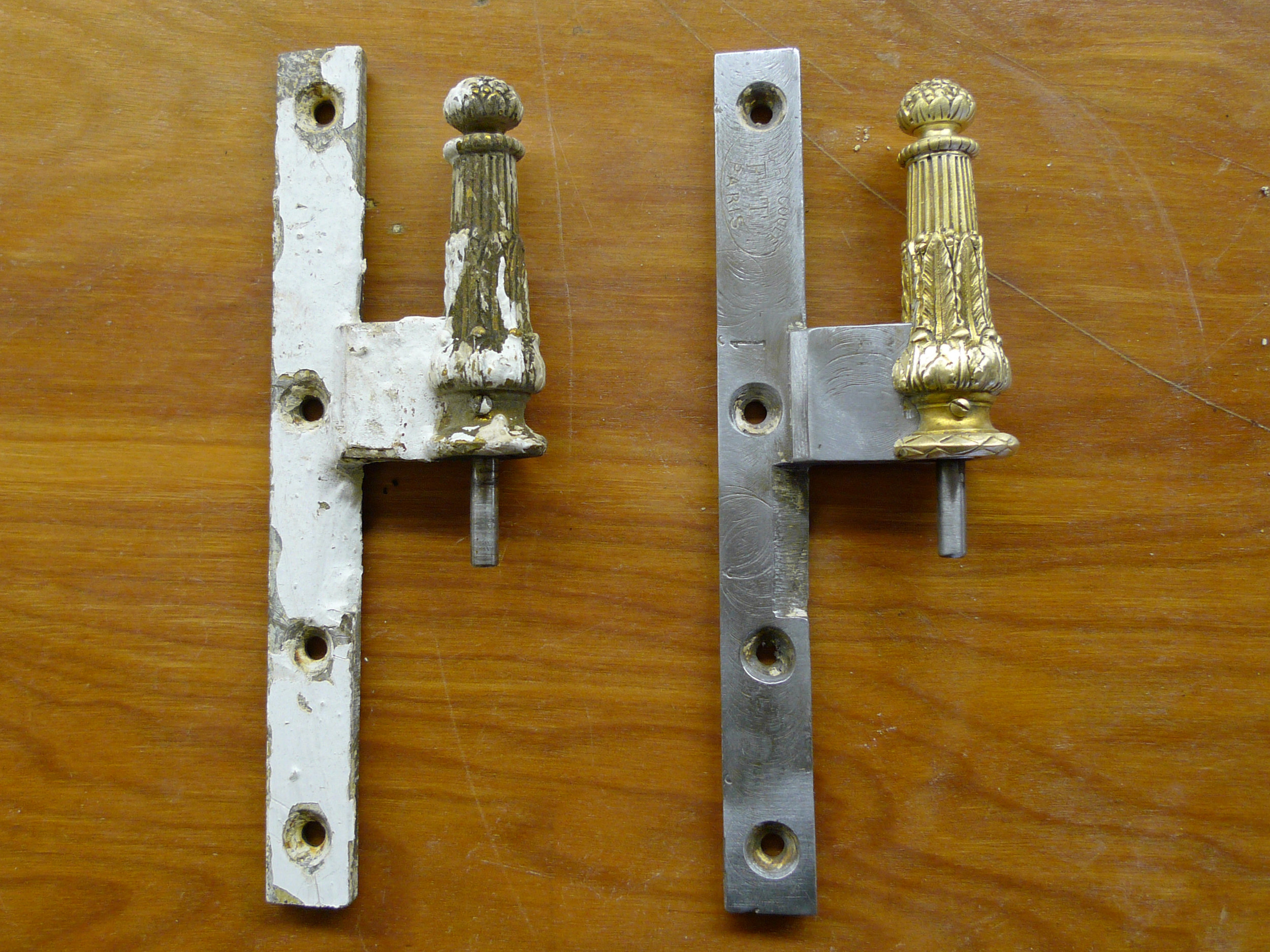 before & after historic hinge restoration - new york, ny