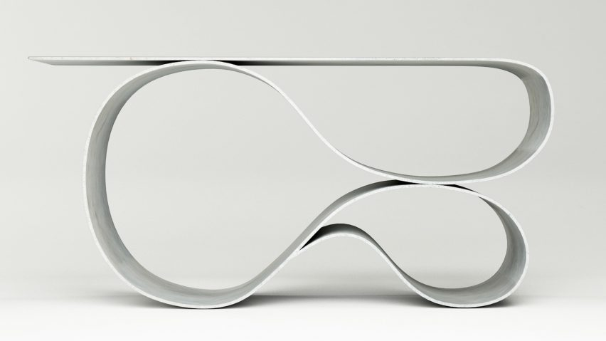 Designer Neal Aronowitz folds Concrete Cloth into sculptural table
