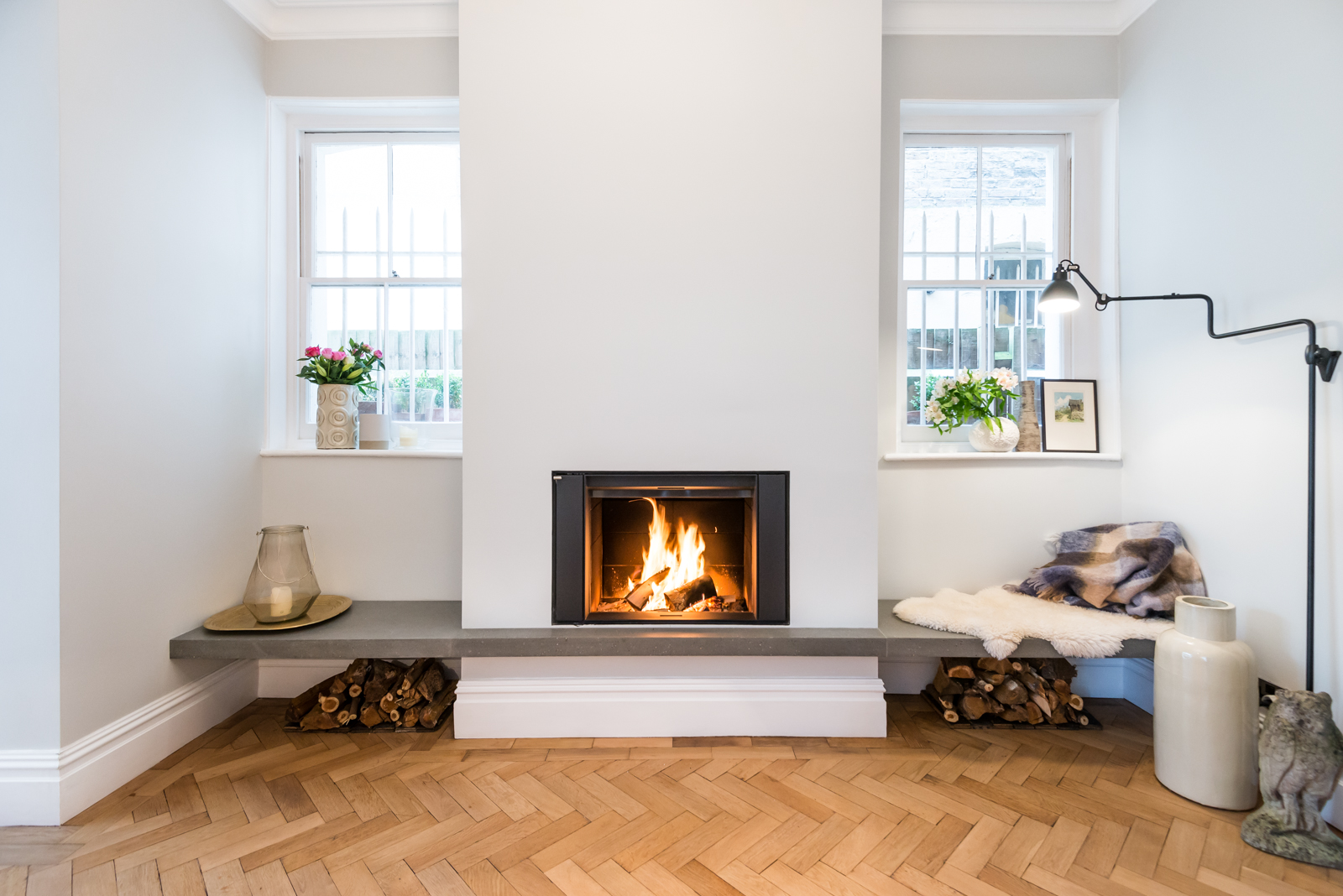 A concrete fire surround designed and handmade by Forma Studios for a private client in central London