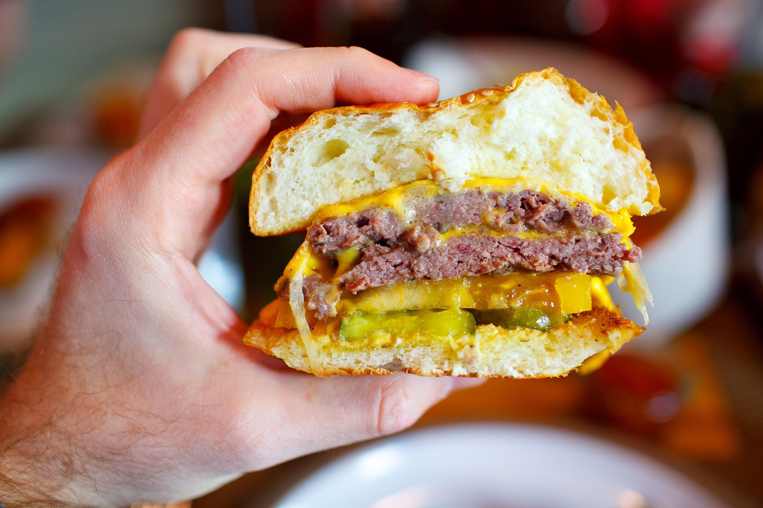 Cheeseburger, Fried Potato Wedges / Husk, Charleston, South Carolina, United States
