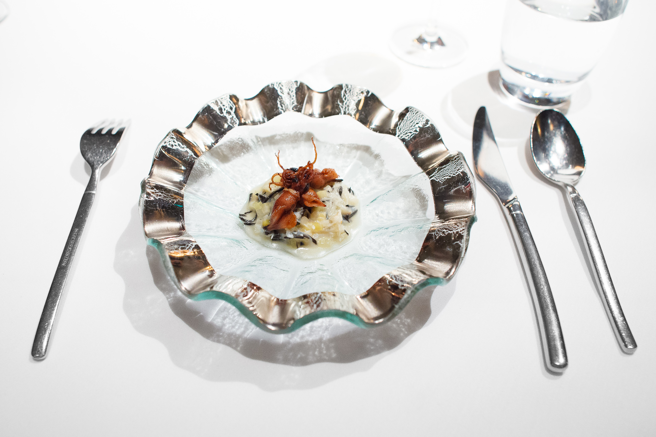 Shellfish risotto without rice, root vegetables / Manresa, Los Gatos, California, United States