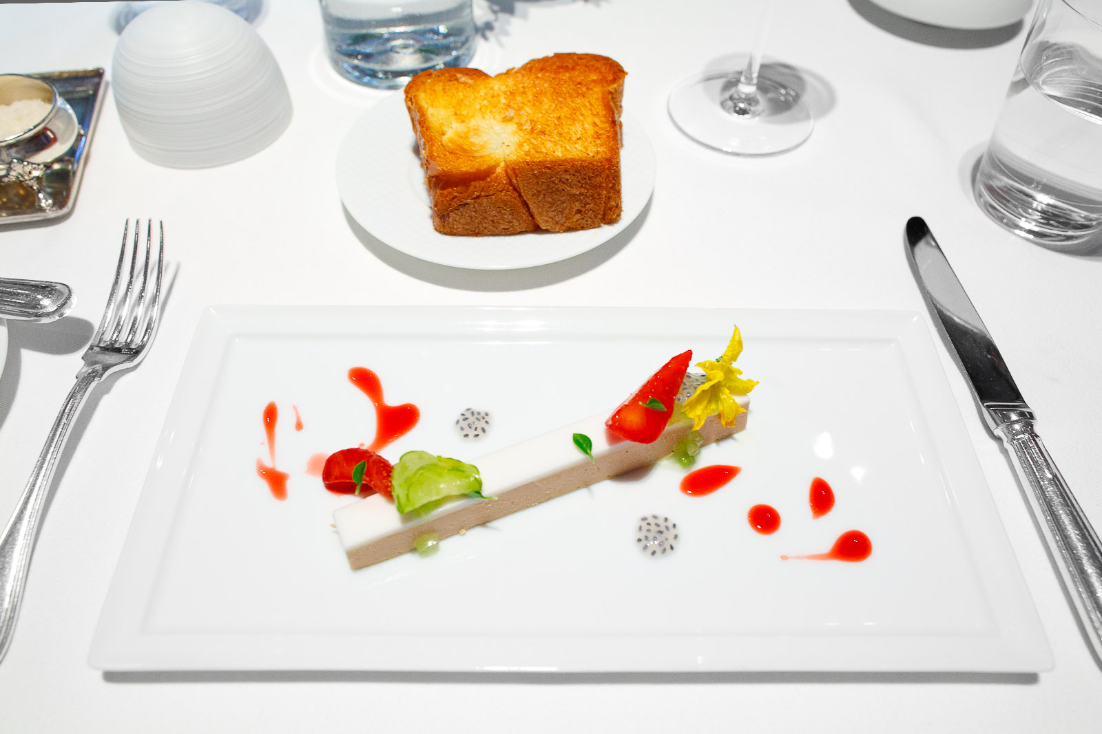 """3rd Course - Moulard Duck Foie Gras """"En Terrine,"""" French Laundry Garden Strawberries, Cucumber, Young Coconut and Greek Basil"""