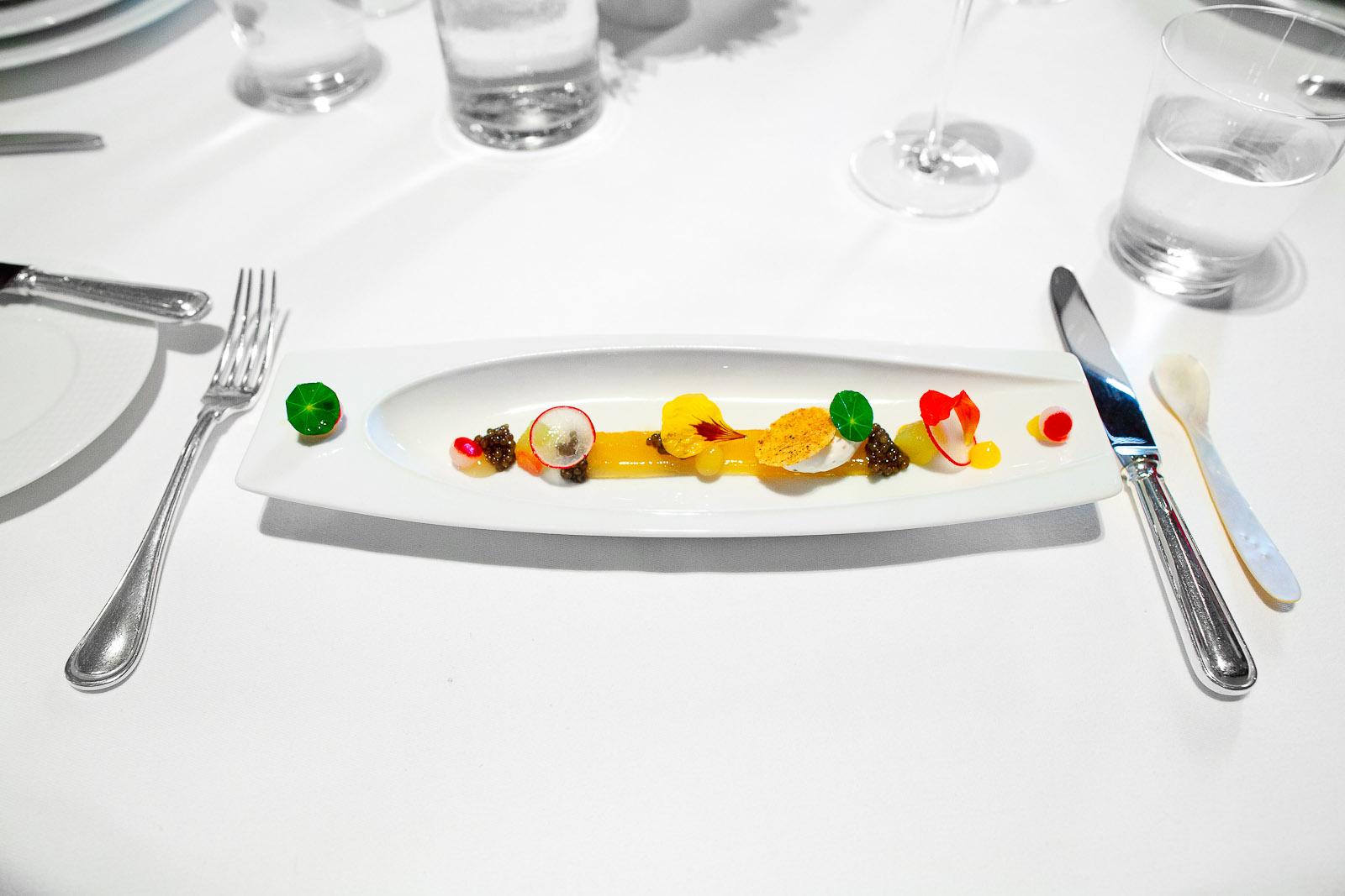 Royal Ossetra Caviar, Compressed Summer Melon, Nasturtium and Black Pepper Crème Fraîche
