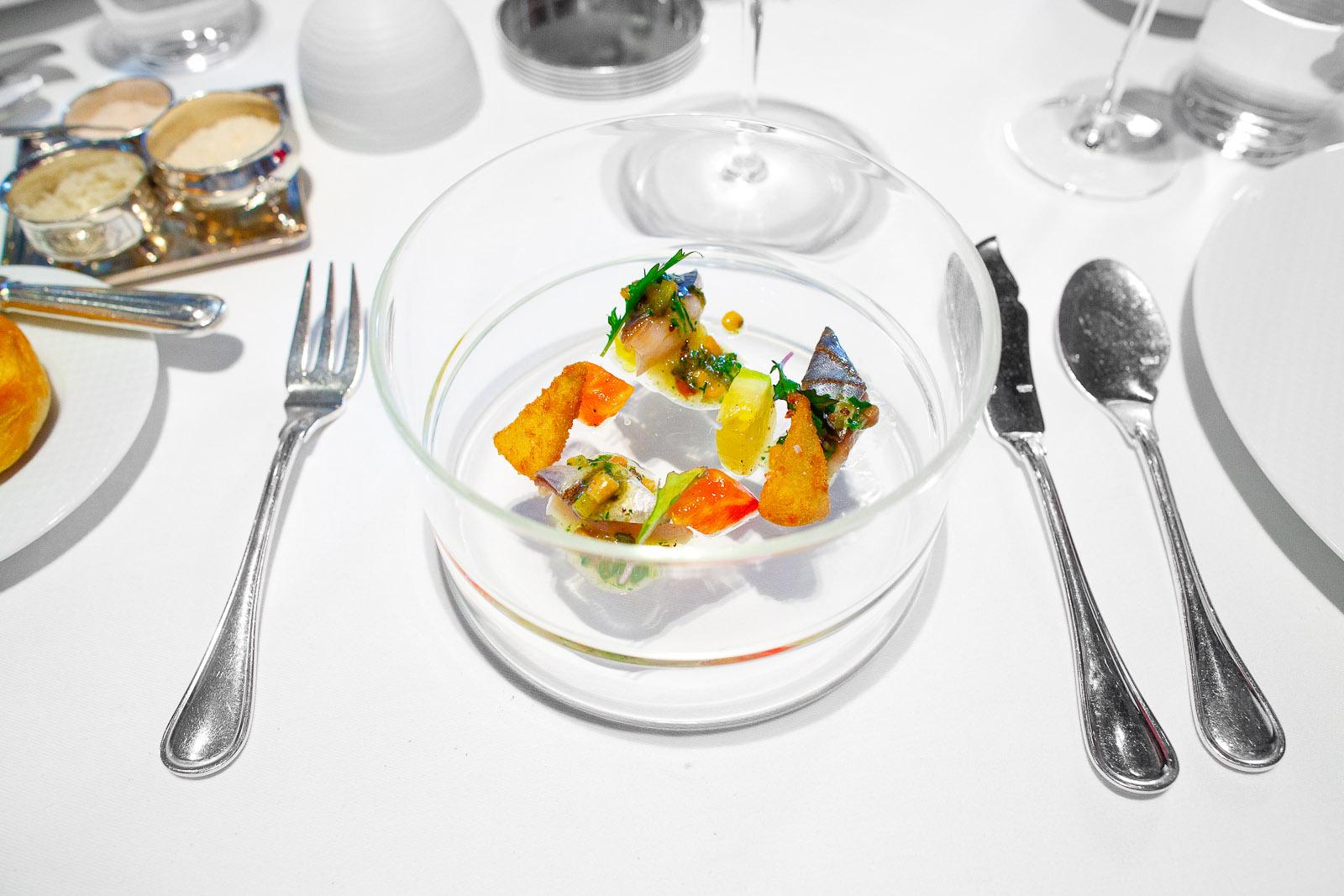 "4th Course - Spanish Mackerel ""En Escabèche,"" Heirloom Tomatoes, Crispy Artichokes, Mizuna and Pine Nut Vinaigrette"