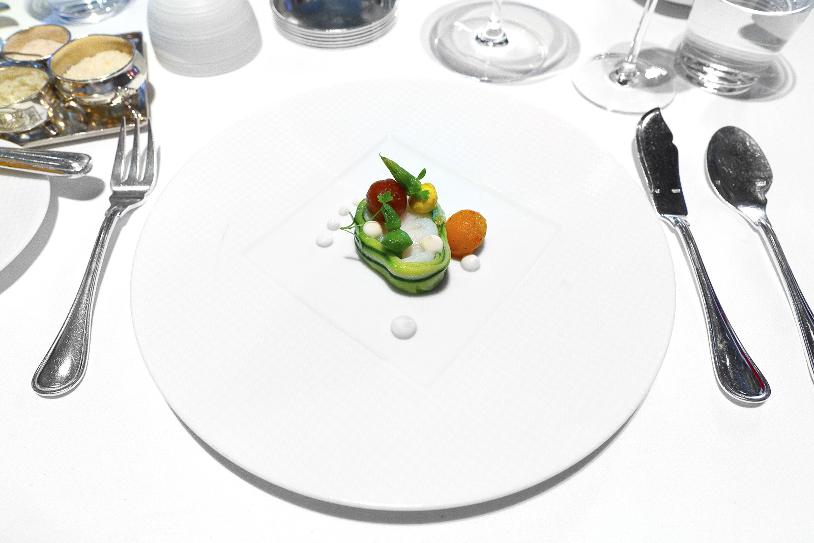 """4th Course - Atlantic Cod """"Confit à la Minute,"""" Summer Squash, Toybox Tomatoes, Parsley and Sweet Garlic Cream"""