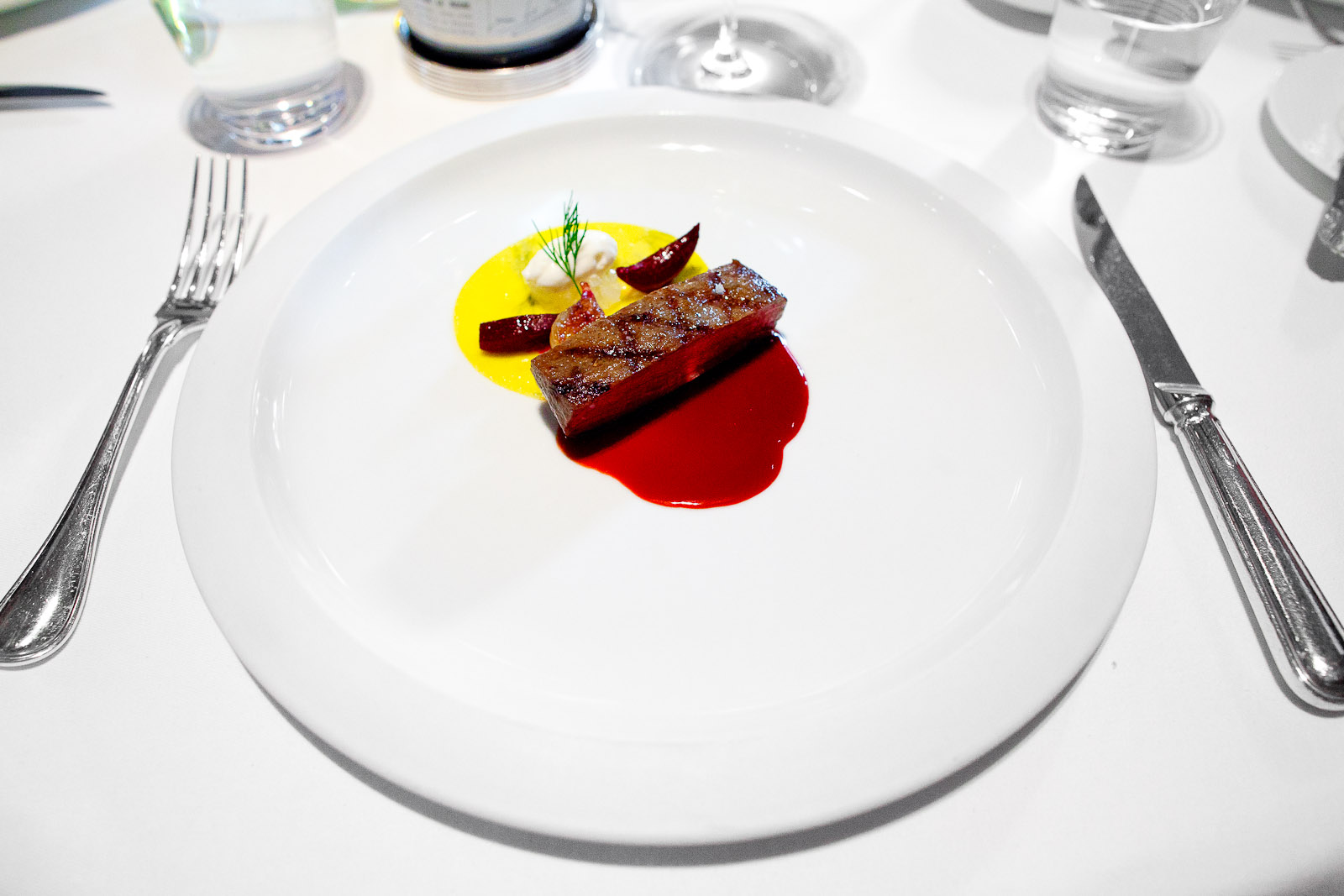 """7th Course - Snake River Farms """"Calotte de Bœuf Grillée,"""" Dill Pasta, Red Beets, Horseradish Mousse, Roasted Shallot and """"Sauce Borscht"""""""