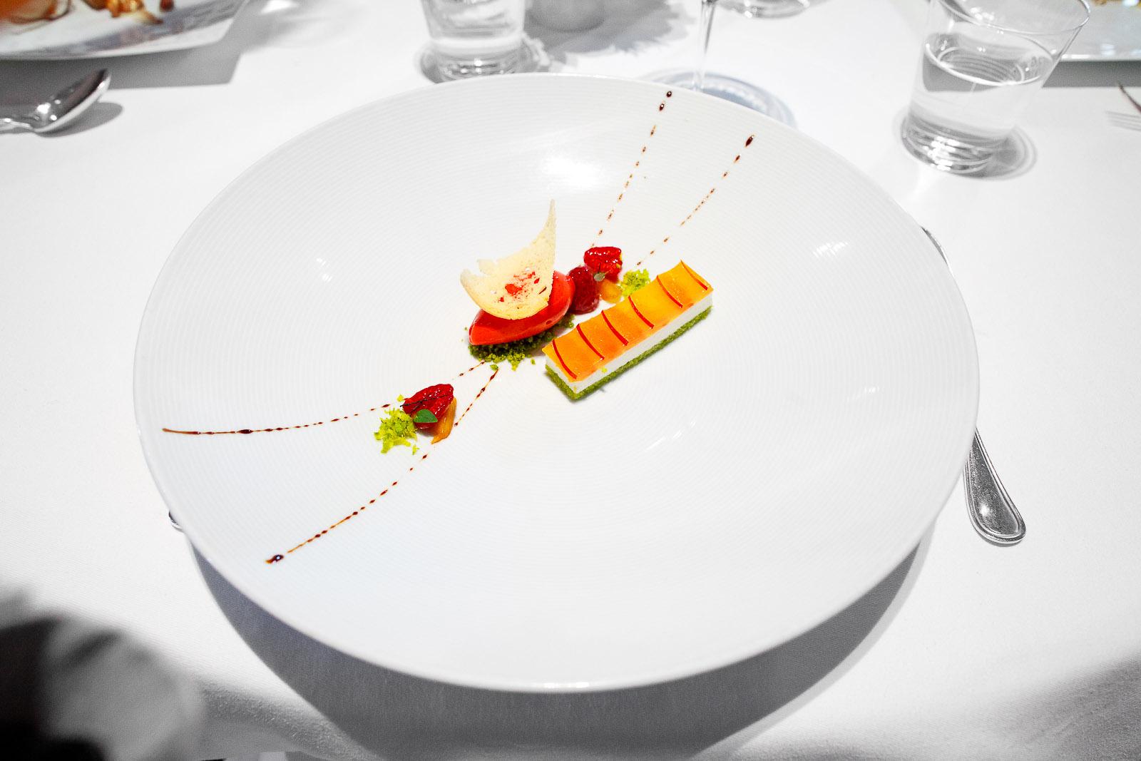 "10th Course - ""Nectarine Melba,"" Sicilian Pistachio ""Pain de Gênes,"" Andante Dairy Yogurt, ""Biscotti,"" and Raspberry Sorbet"