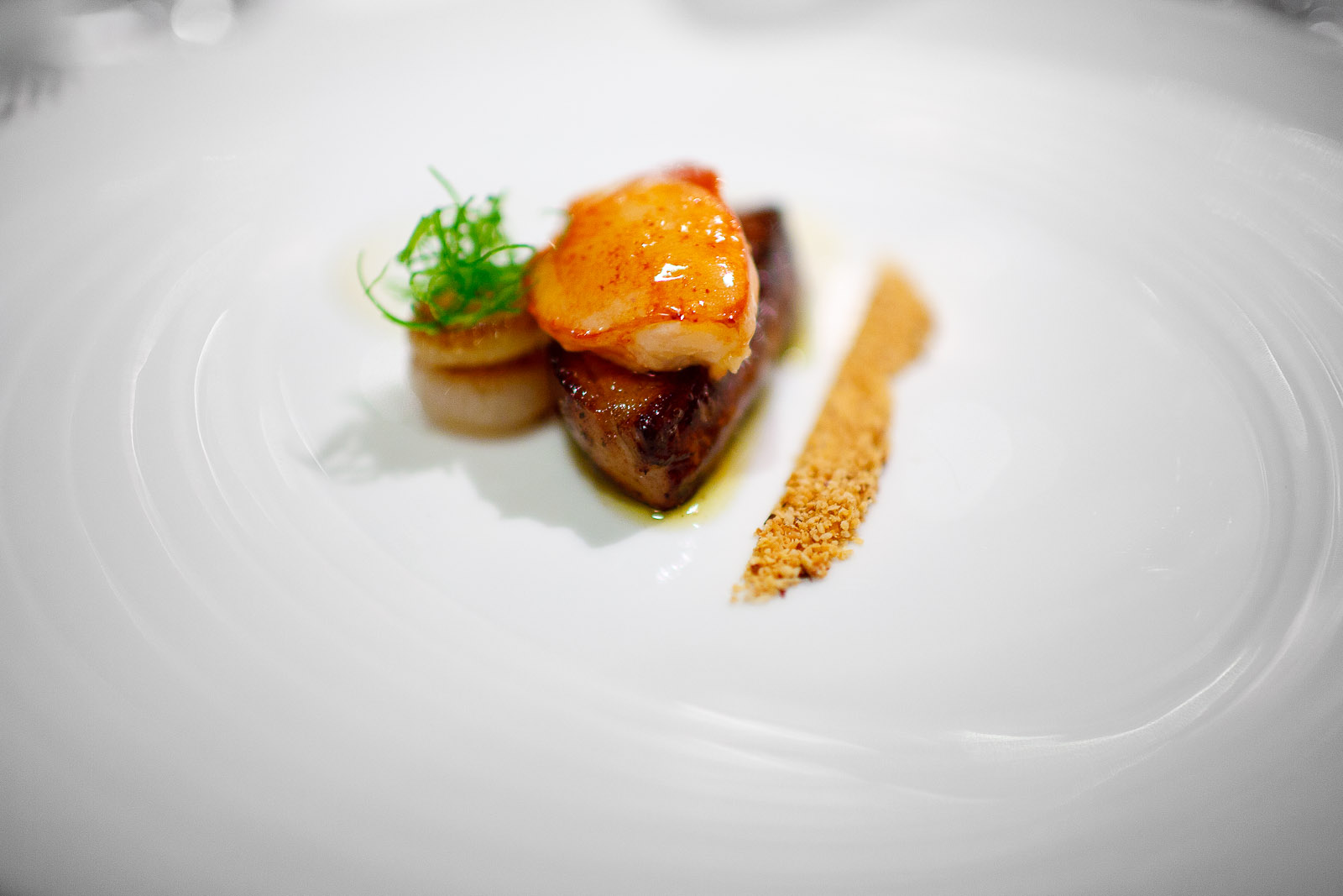 8th Course- Sweet butter-poached Maine lobster mitts, sautéed foie gras