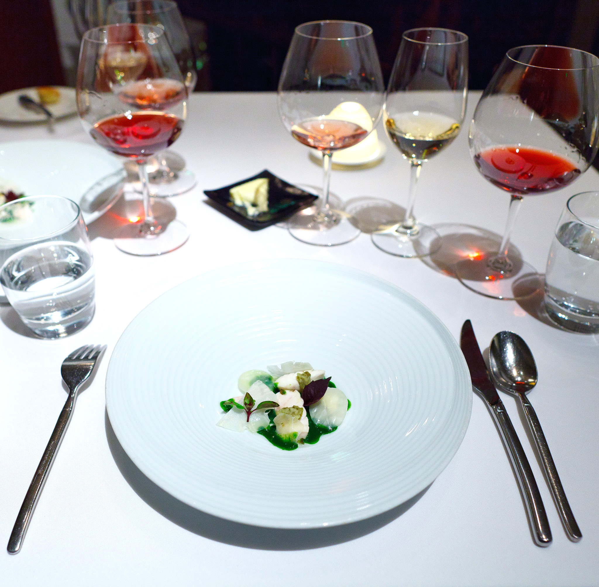 13th Course - Poached halibut served with with young celeriac, romanesco