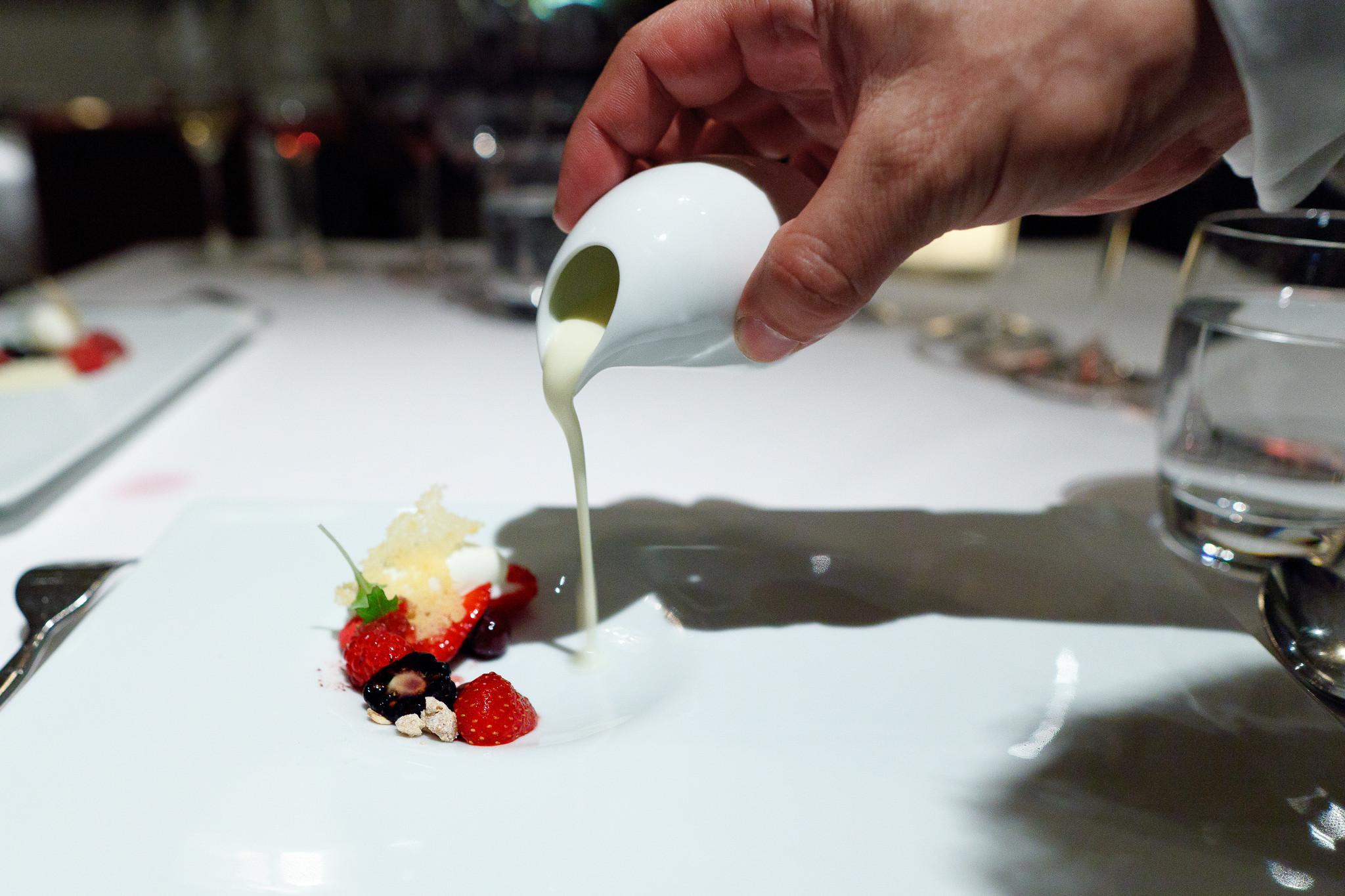 16th Course - Summer berries, roasted and raw, lemon cream with açaí granite, yogurt sorbet