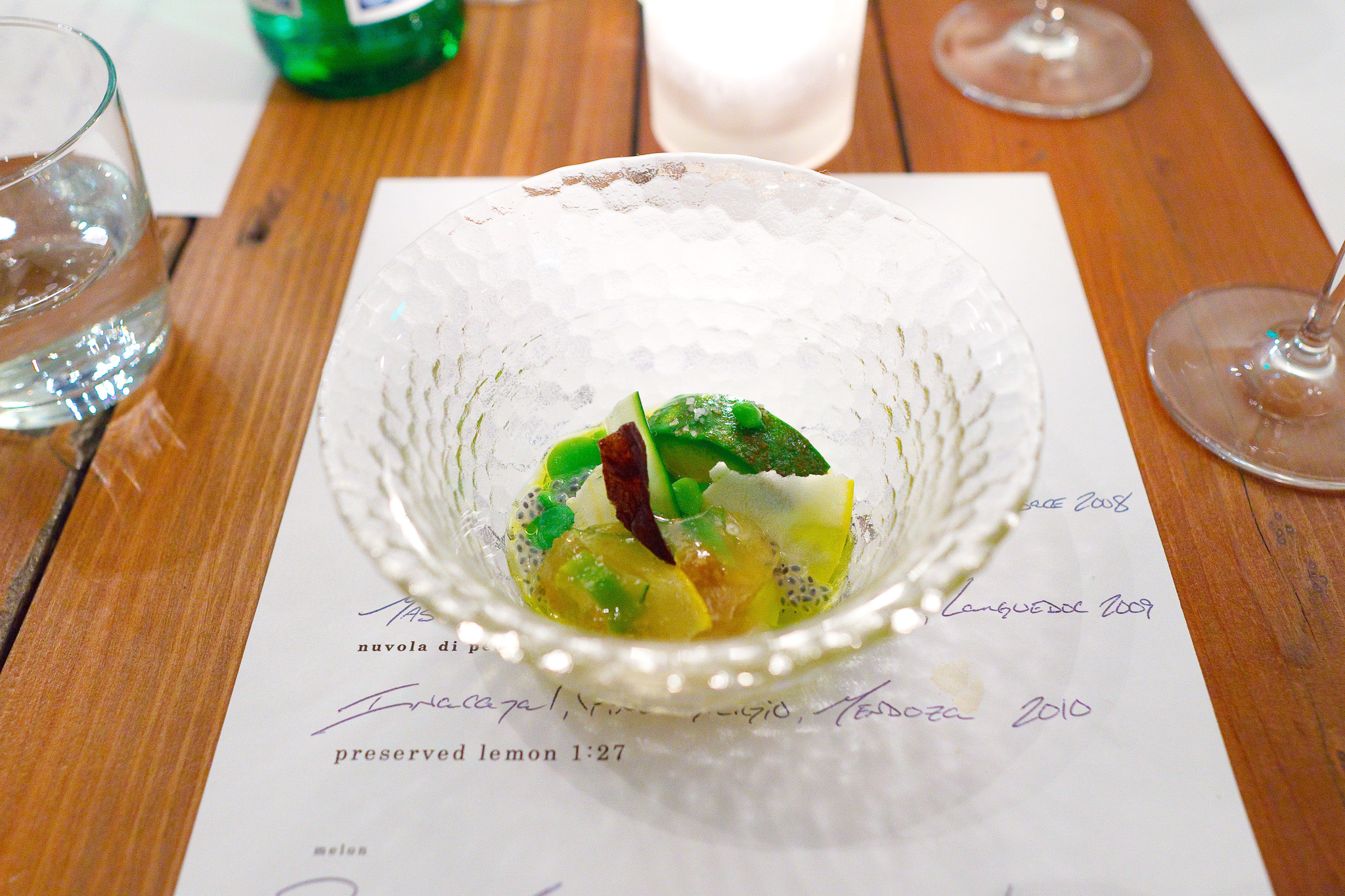 3rd Course, Vegetable aspic - Fava beans, peas, zucchini & squash, eggplant roasted over the fire & a crispy chip of the skin, avocado, All bound with gelée of tomato consommé