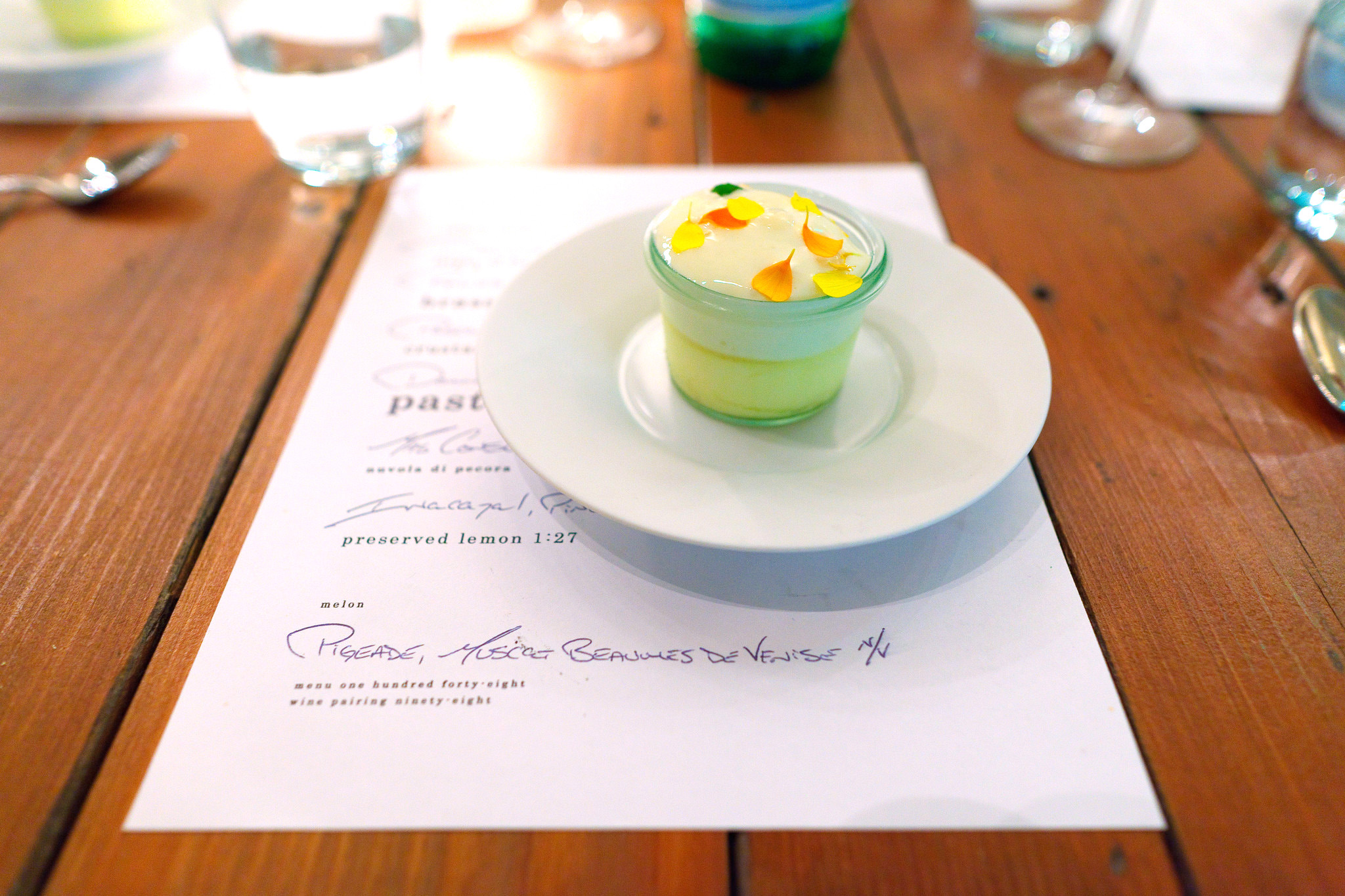 7th Course, Preserved lemon - lemon preserved on Jan 27, 2011. Candied lemon, perserved lemon cream, lemon sorbet, chrysanthemum petals