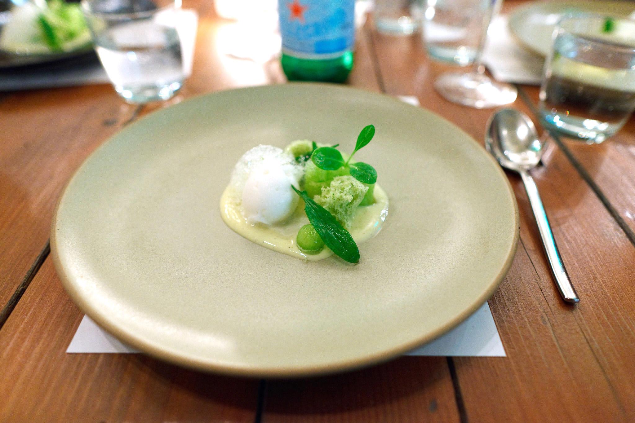8th Course, Melon, sparkling vanilla sorbet, shiso cake