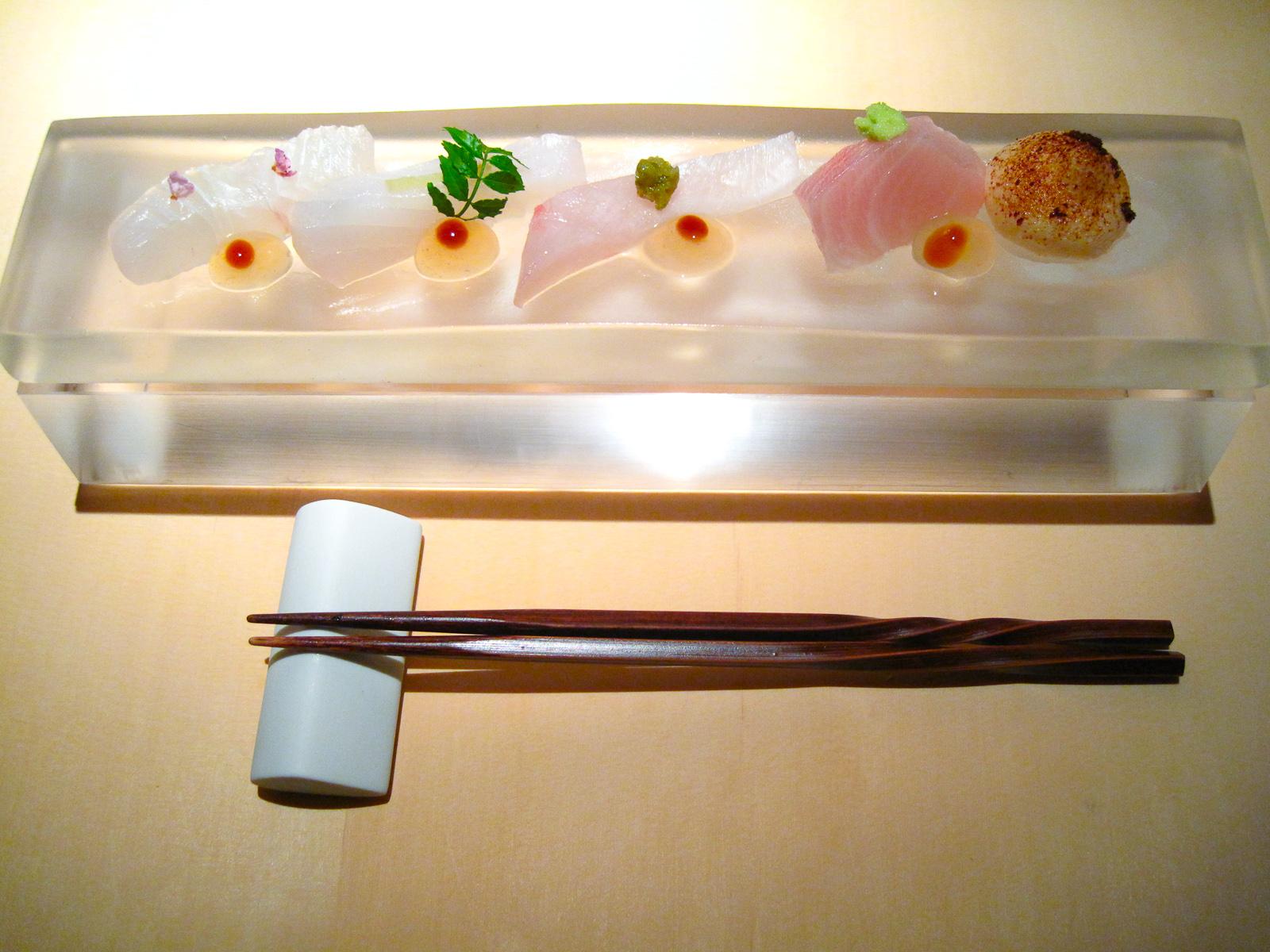 L2O, Chicago - Sashimi platter- fluke, kampachi, kinmedai, shimaaji