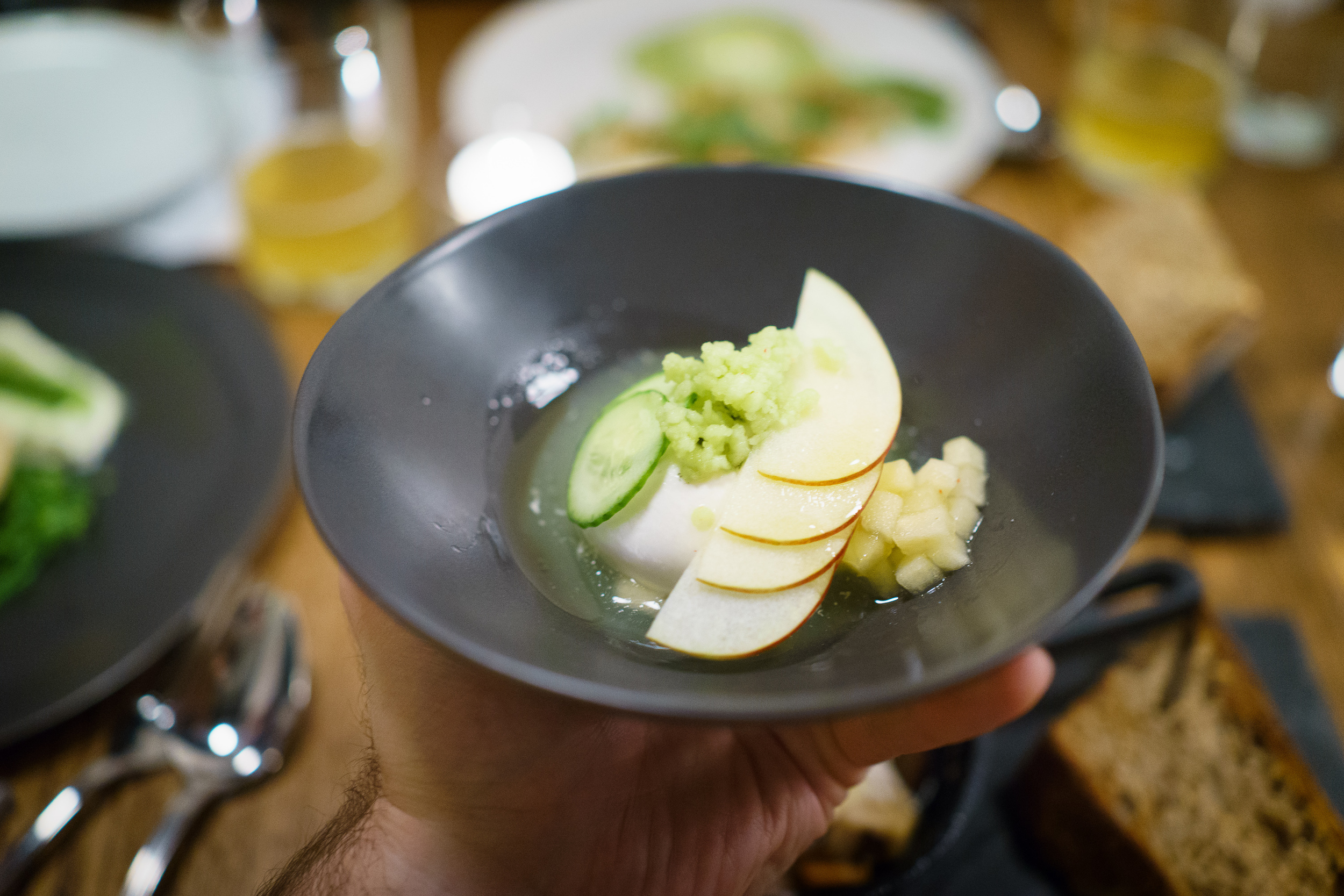 Burrata, winesap apple water, cucumber, lemon oil