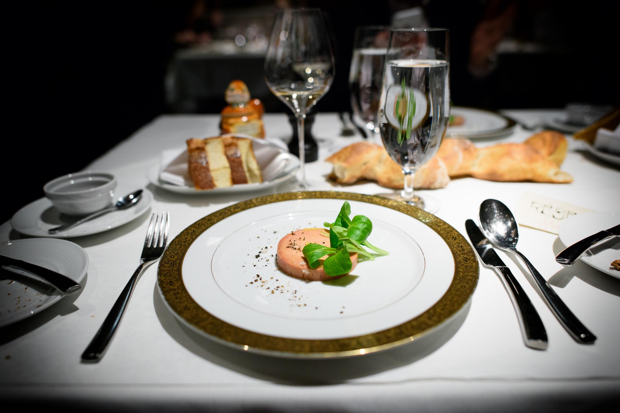 3rd Course: Foie gras au Torchon, foie gras with brioche toast p