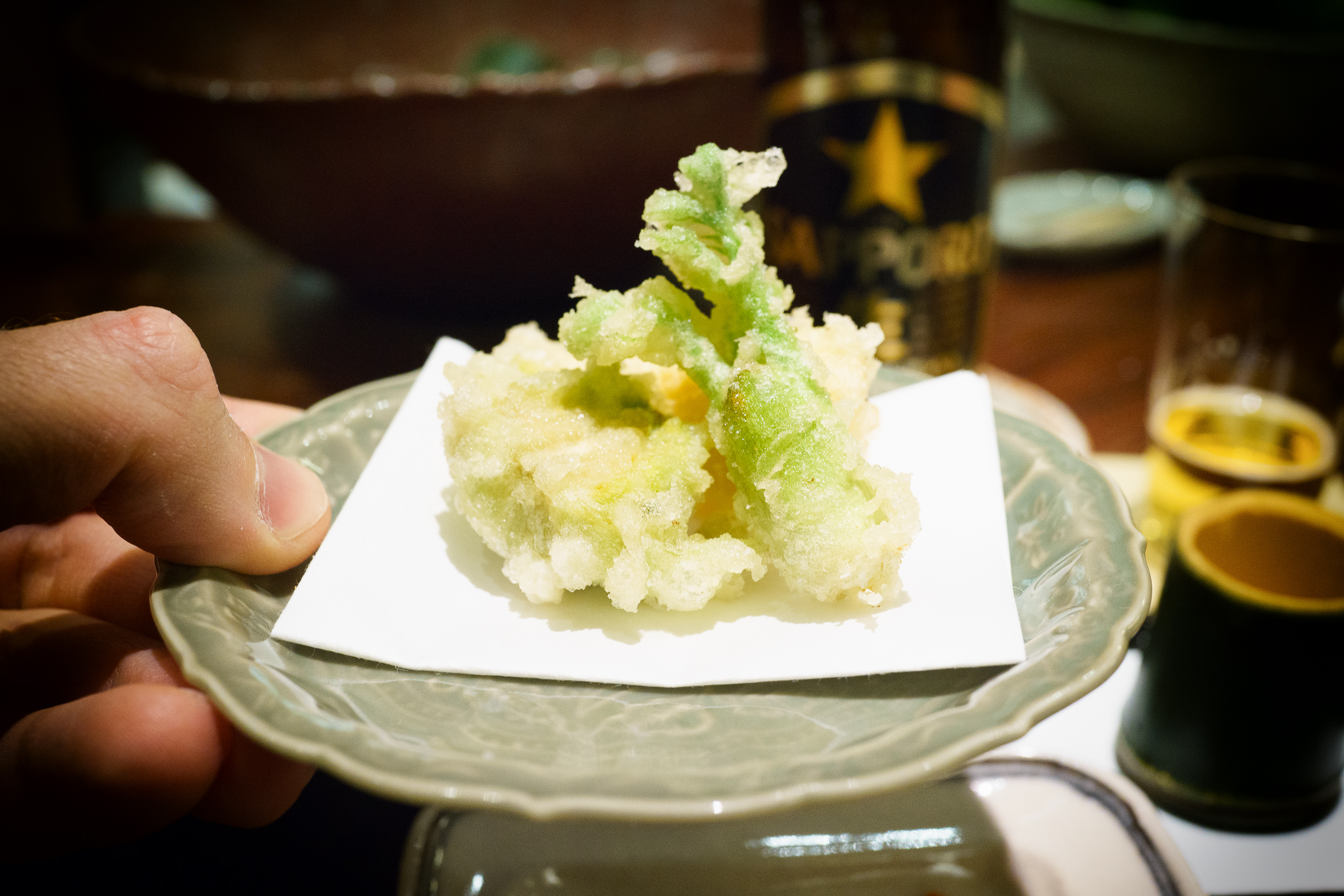 4th Course: Bitter greens tempura