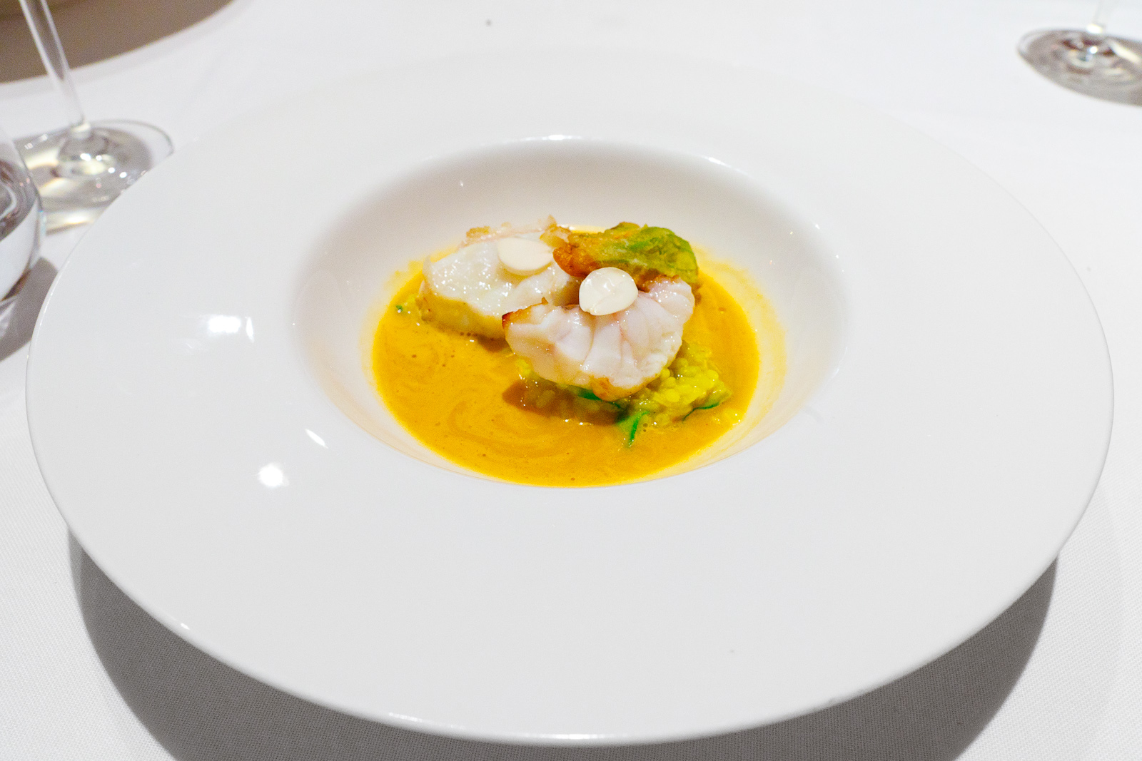 Hisop, Spain - Monkfish with saffron rice and zucchini flower