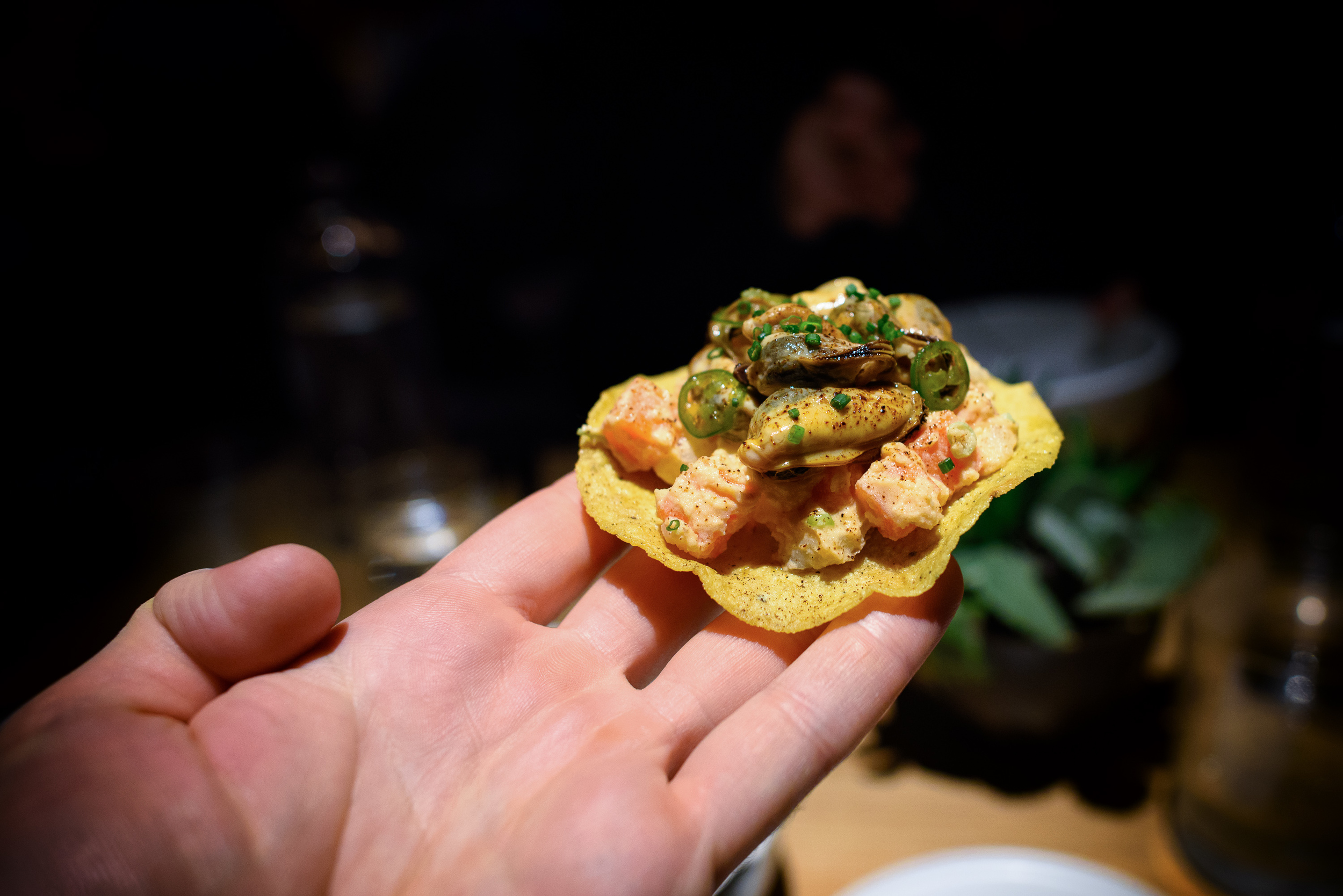 Mussel tostada, russian salad, chipotle mayonnaise