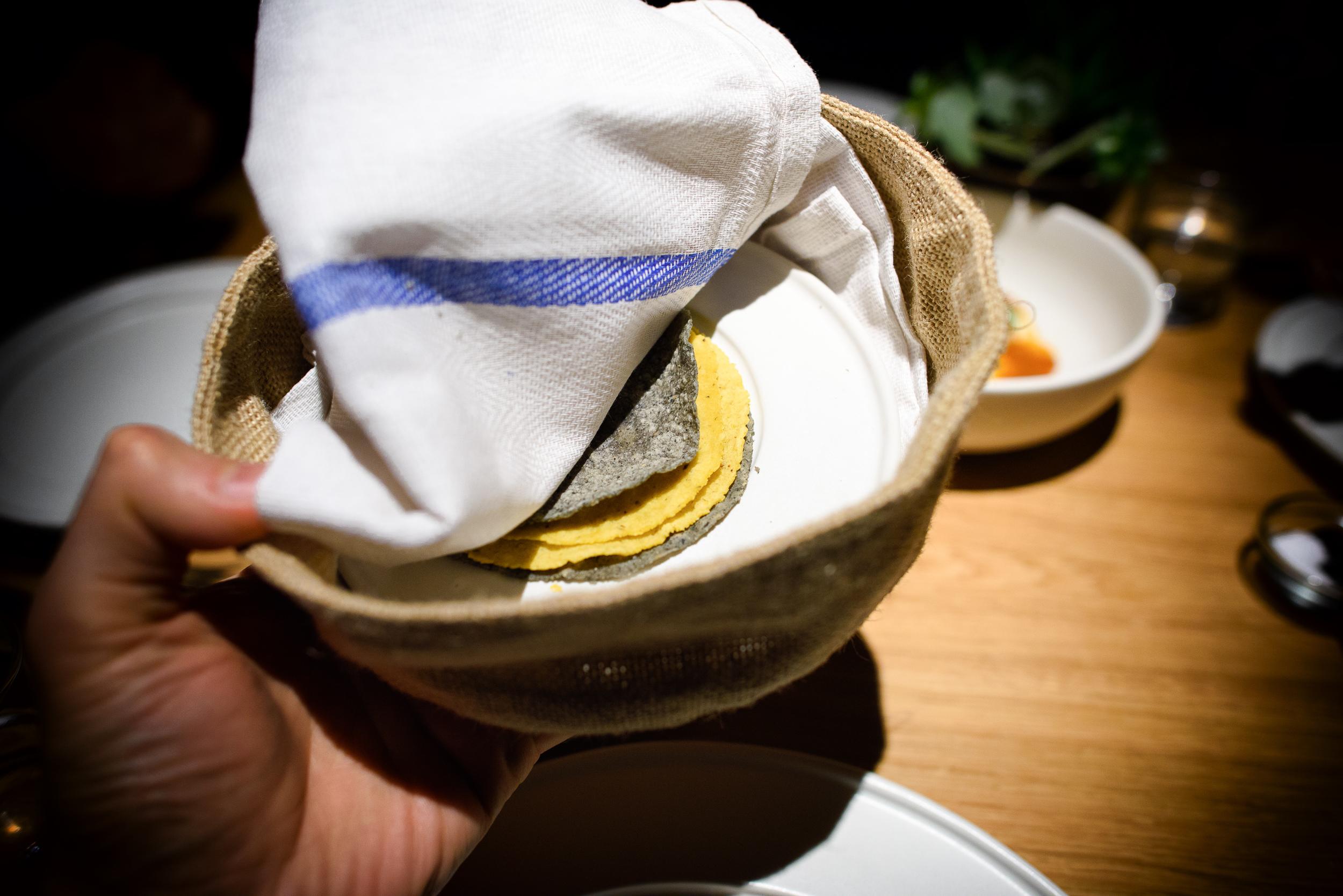 Blue and yellow-corn single origin tortillas
