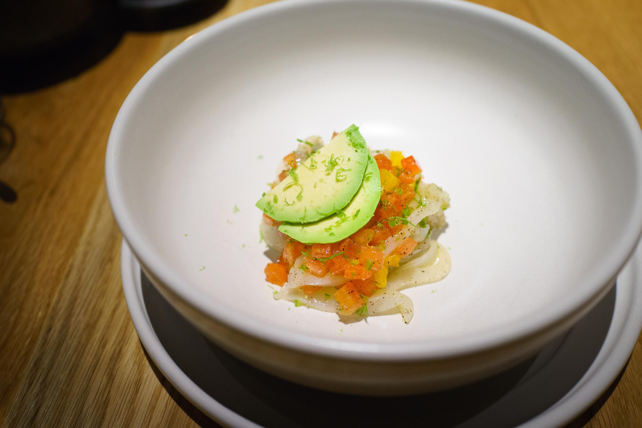 Smoked raw sepia, salsa mexicana, avocado