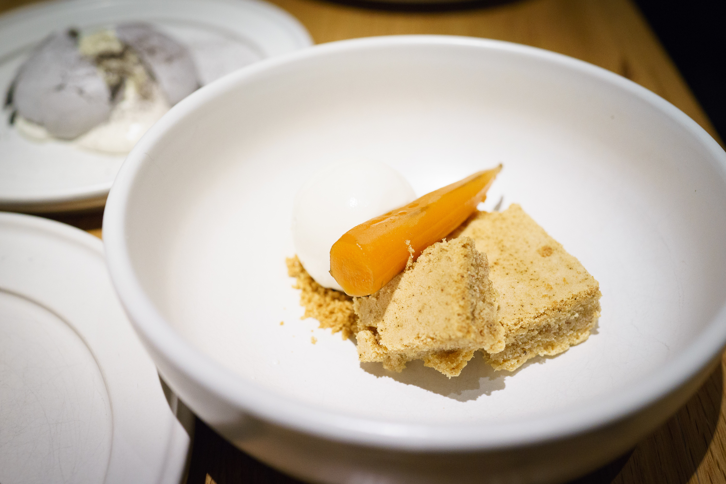 Nixtamalized carrot, cinnamon cake, cream cheese ice cream
