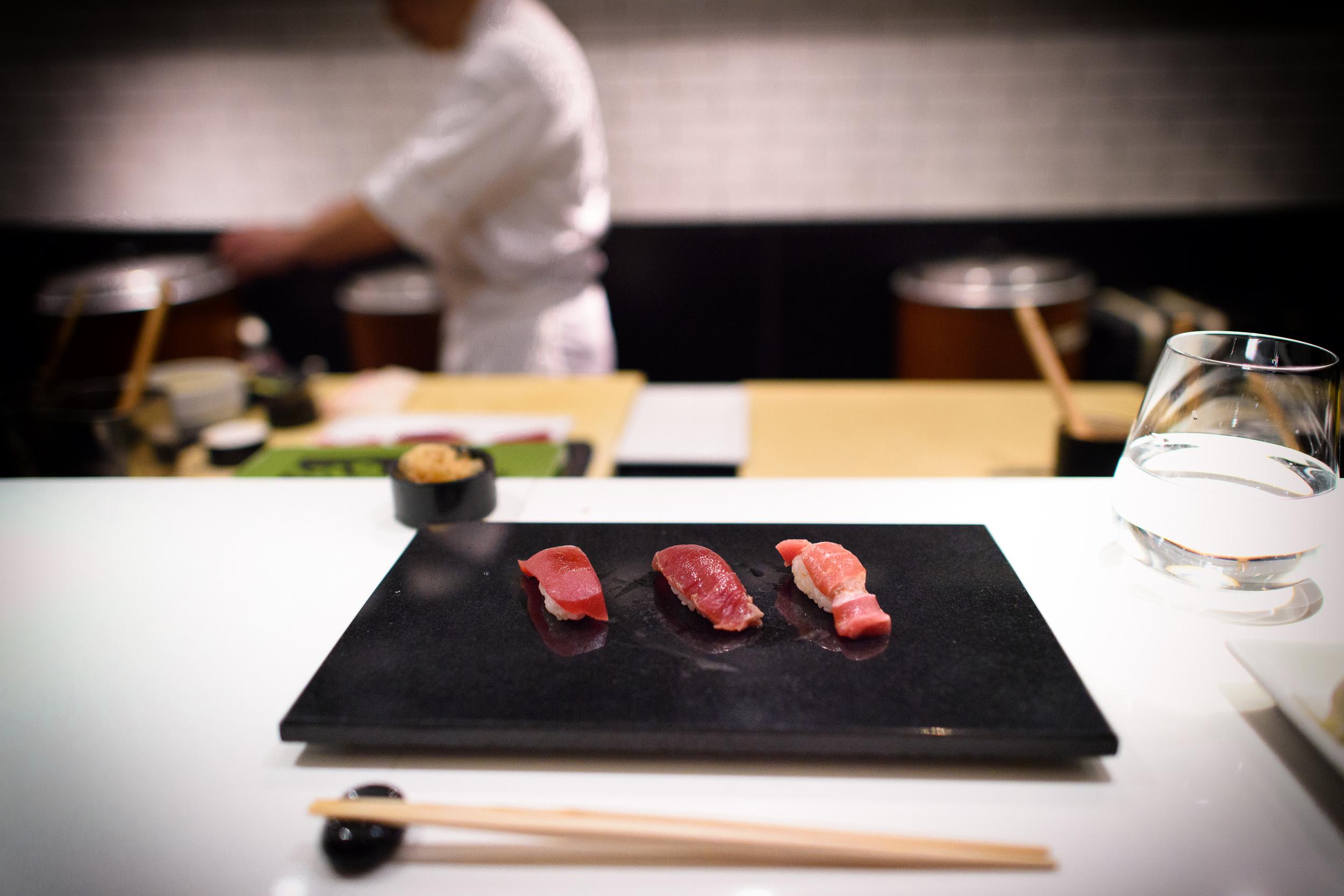 14th, 15th and 16th Courses: Tuna (lean tuna, soy-marinated tuna