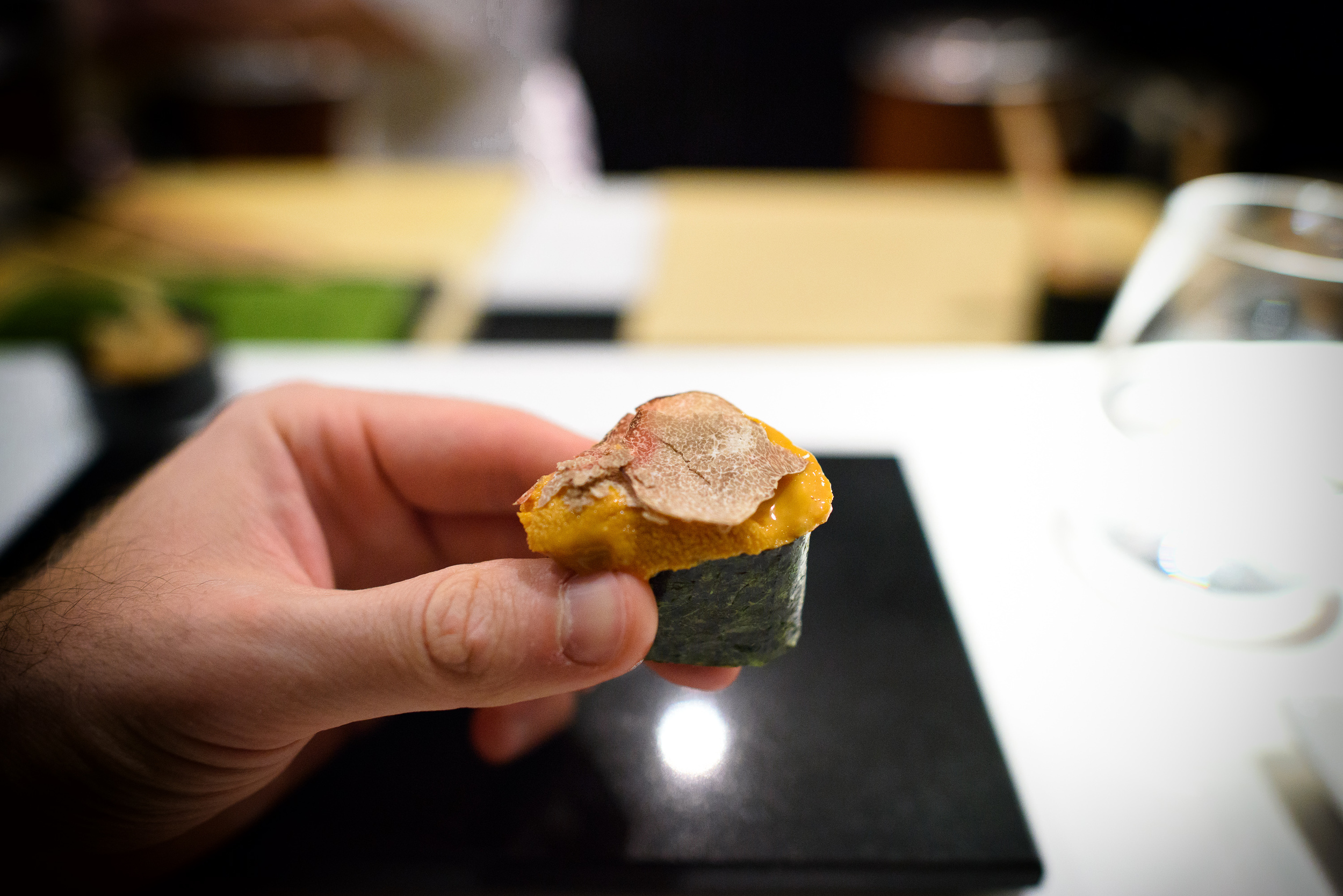 17th Course: Sea urchin from Santa Barbara topped with white tru