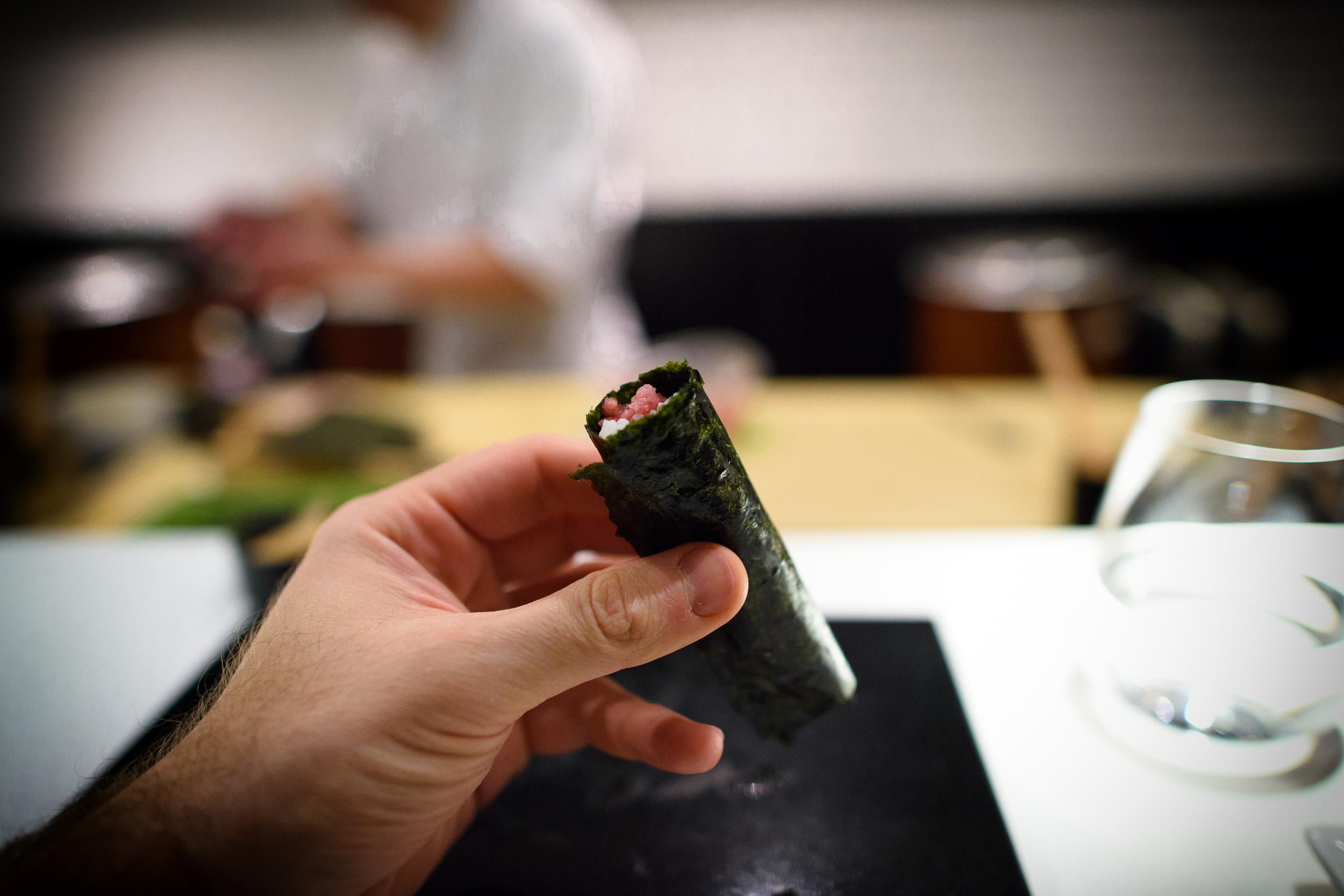 19th Course: Otoro temake (fatty tuna handroll)