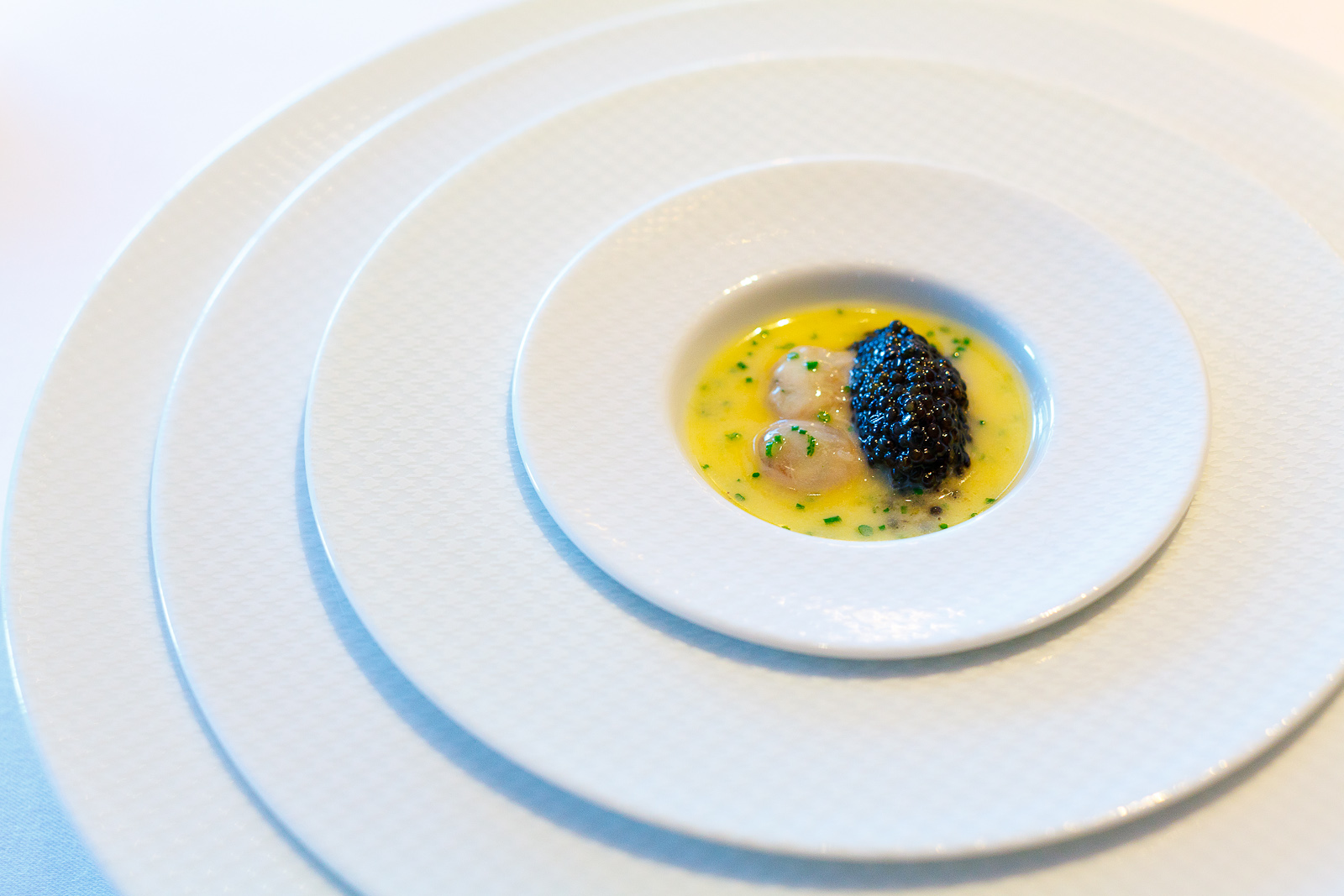 3rd Course: Oysters and pearls, sabayon of pearl tapioca with island creek oysters and sterling white sturgeon caviar