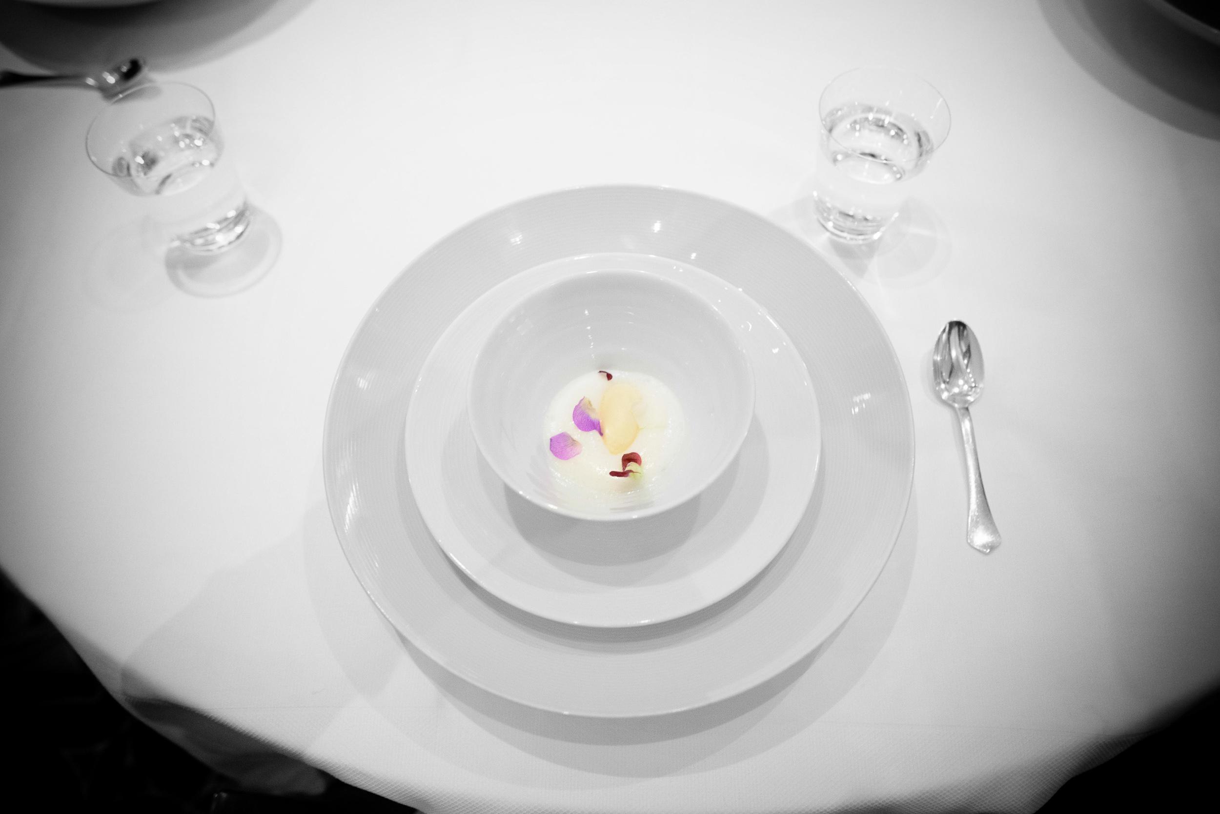 4th Course: Shiro miso sorbet, green strawberries, English peas,
