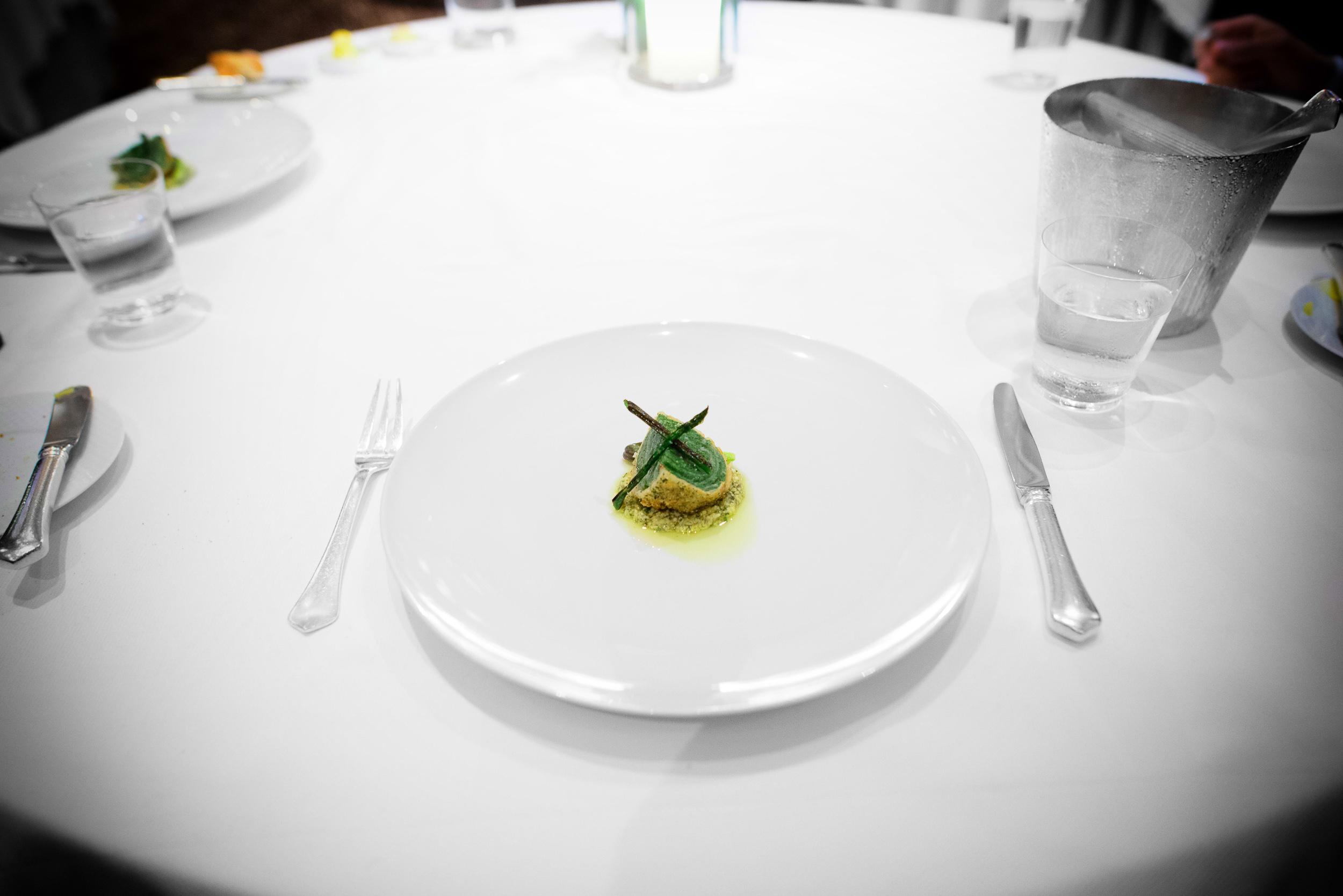 12th Course: Cornbread-spinach stuffed vidalia onion, Sacramento