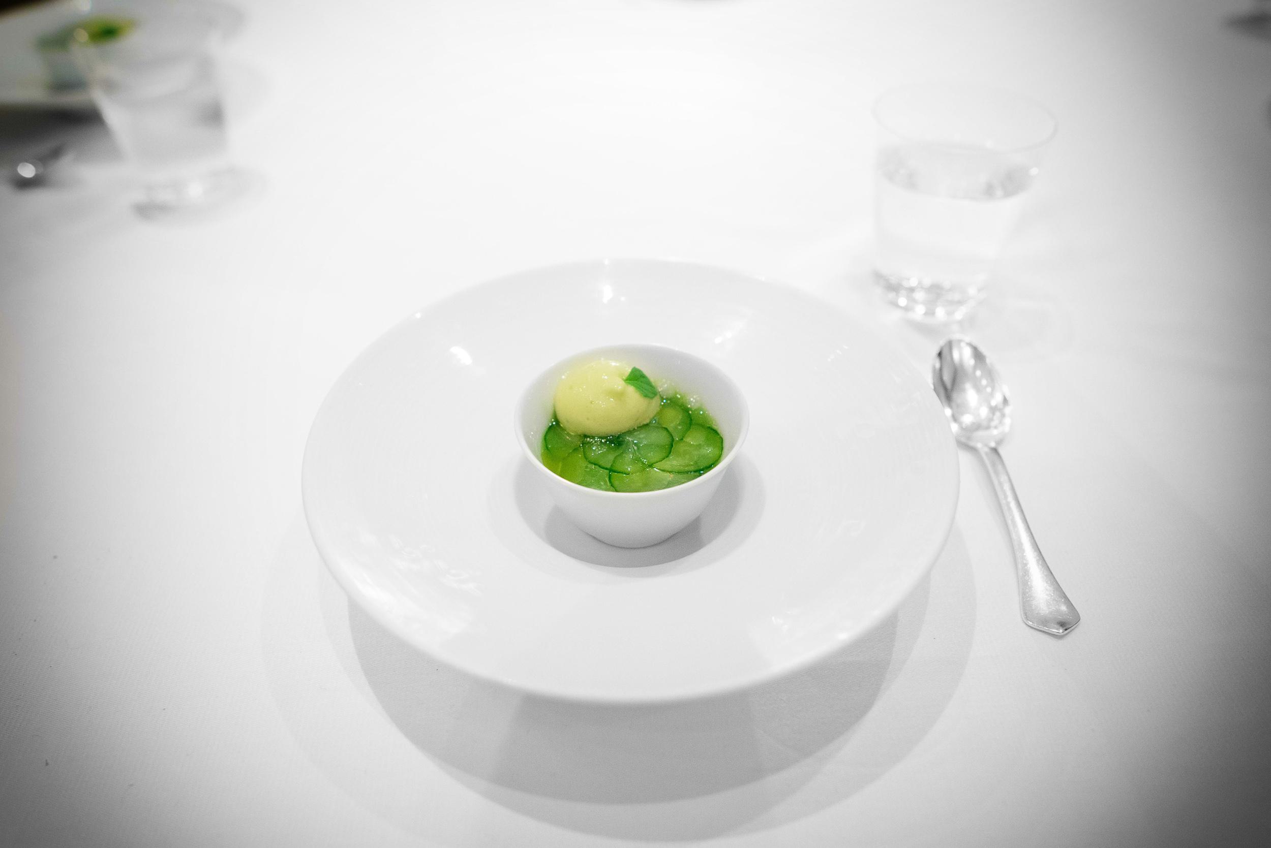 "17th Course: ""Green sake,"" compressed Persian cucumber, gren tea"