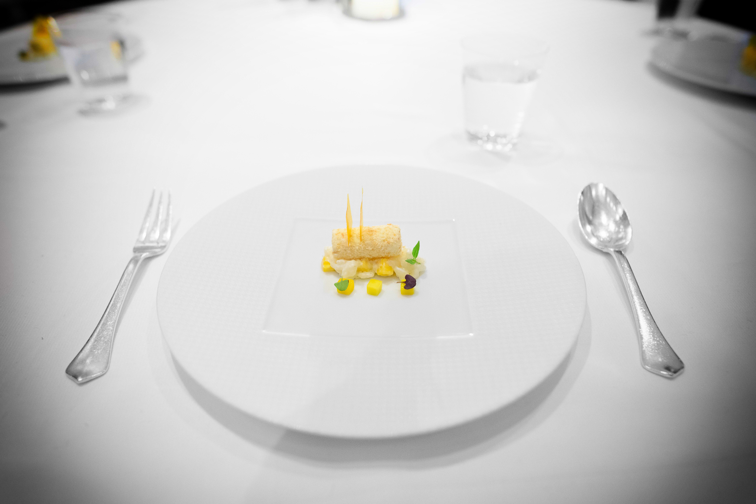 "18th Course: ""Coconut parfait,"" champagne mango and vanilla rice"
