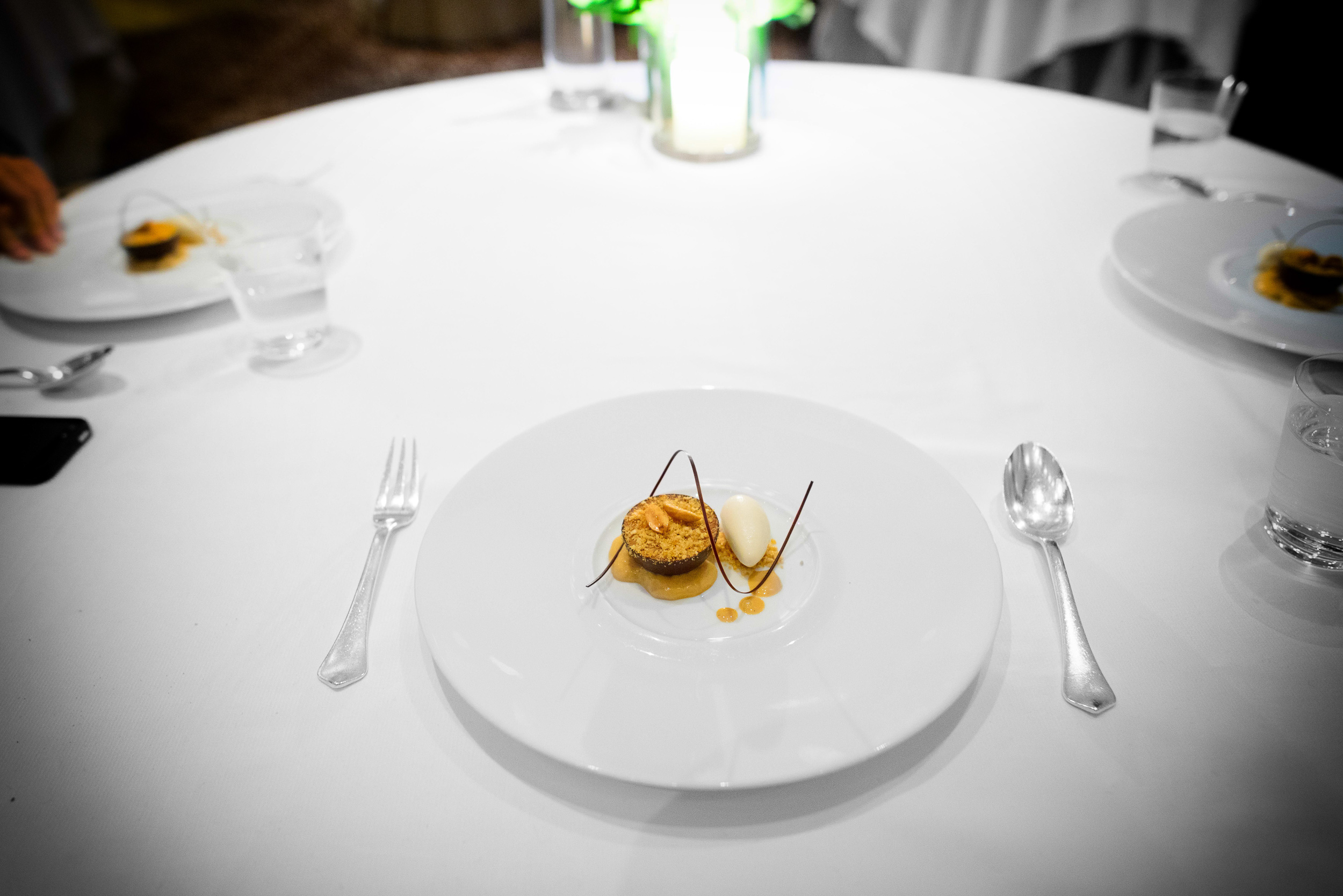 """19th Course: """"Snickers,"""" TCHO chocolate mousse, salted caramel,"""