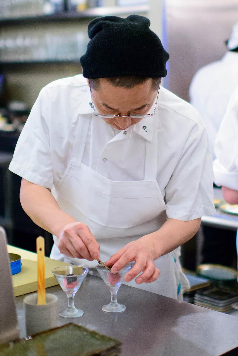 Chef Nick Kim plating toro and caviar