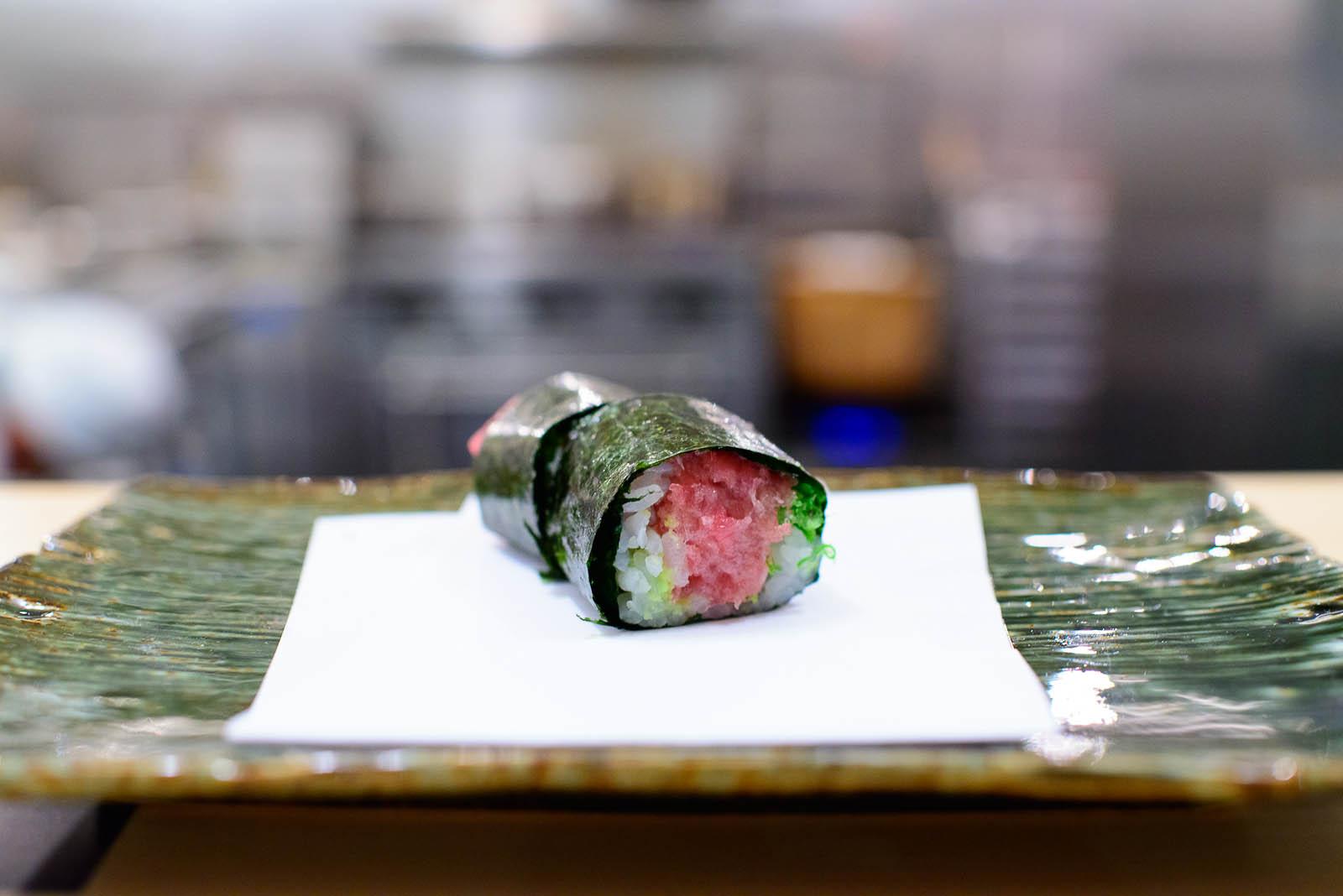15th Course: Fatty tuna and scallion roll (negitoro)
