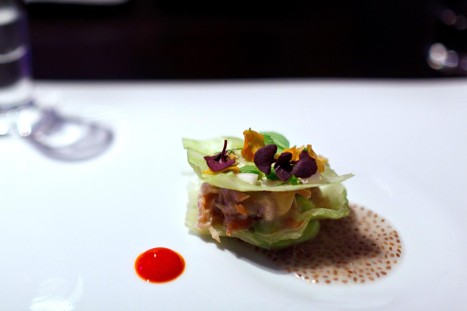 Alinea, Chicago - Pork belly, iceberg, cucumber, thai distillation
