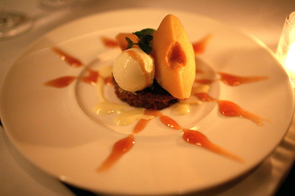 Peach Torte with Honey Ice Cream