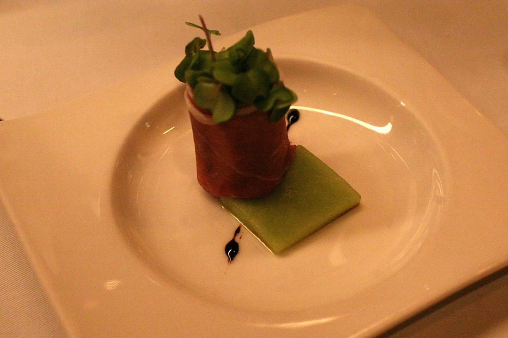 Parma Ham Roll with Mint Custard