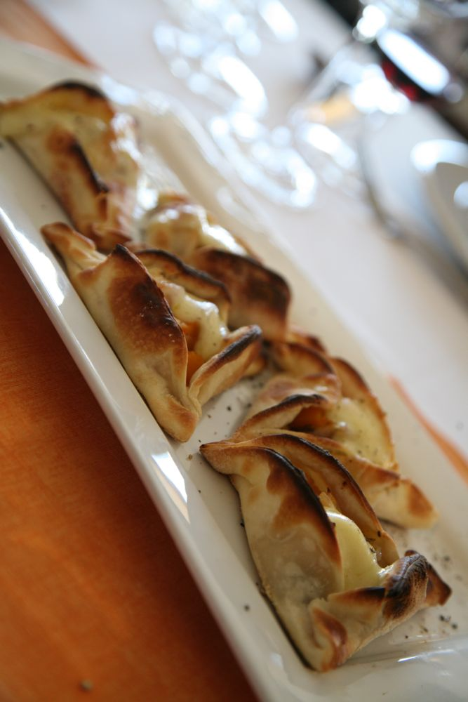 Tartelette of Grilled Onions, Pumpkins, Goat Cheese