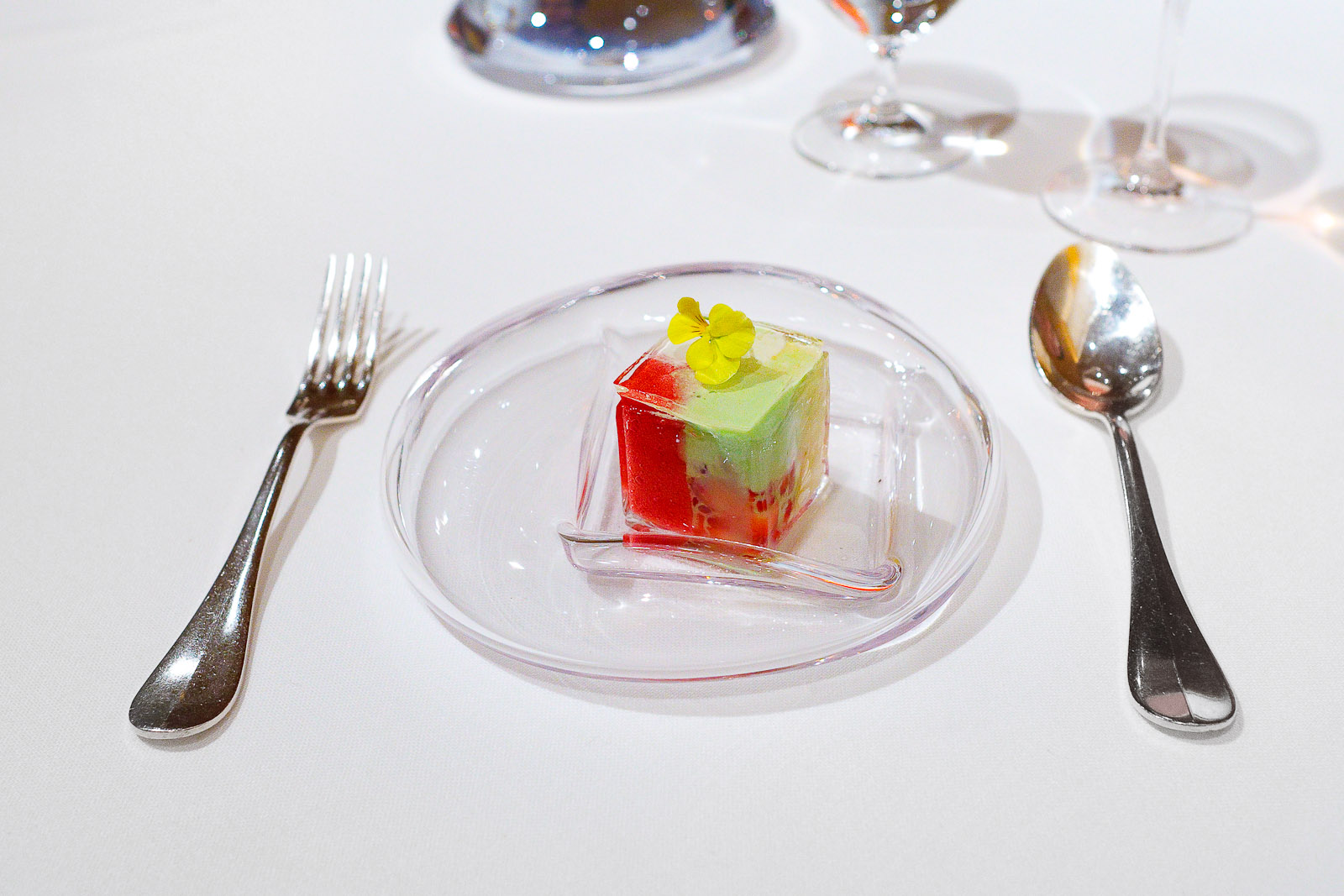 8th Course: Transparent cube, berries, shiso, raspberries
