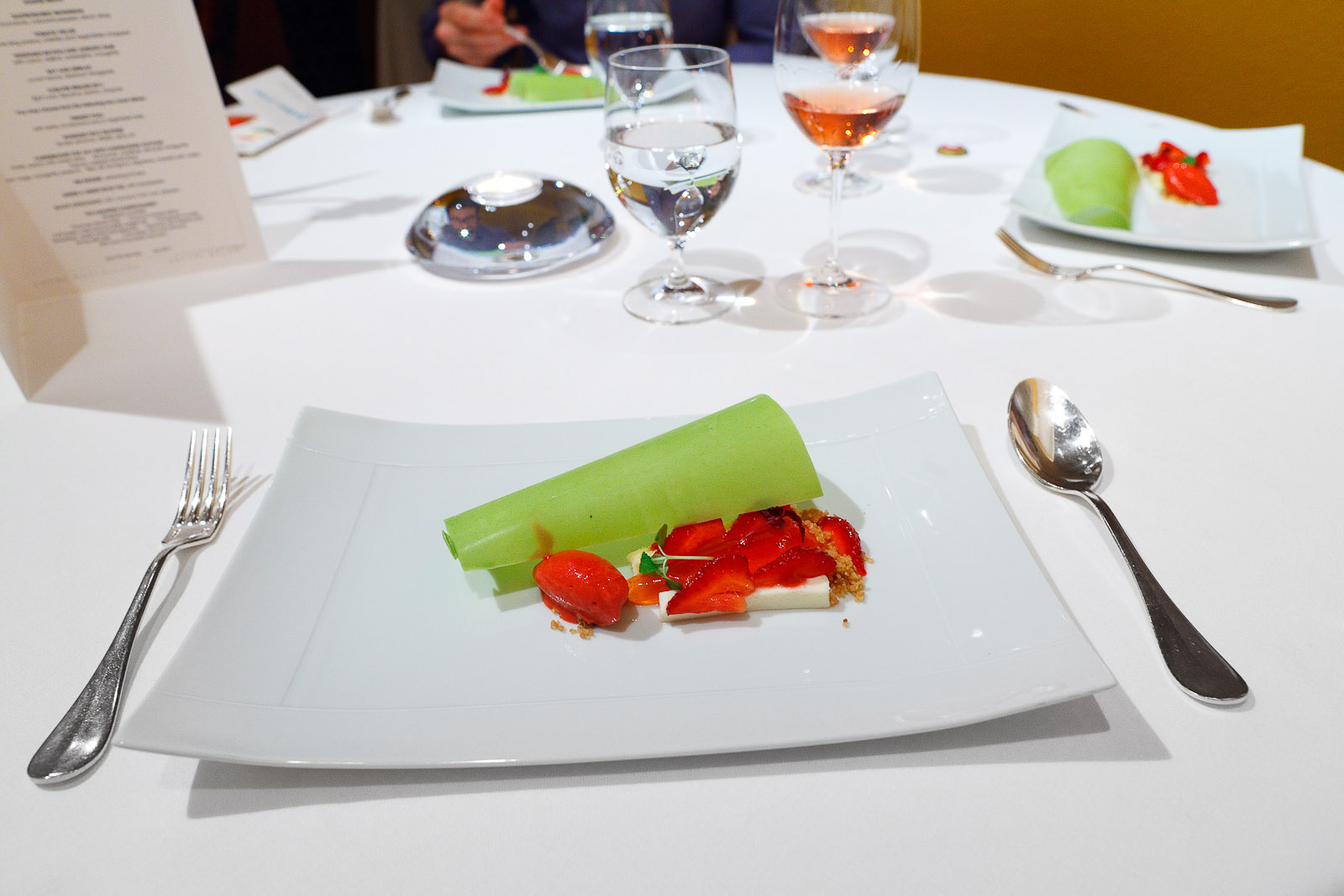 9th Course: Under a green roof tile, with strawberries