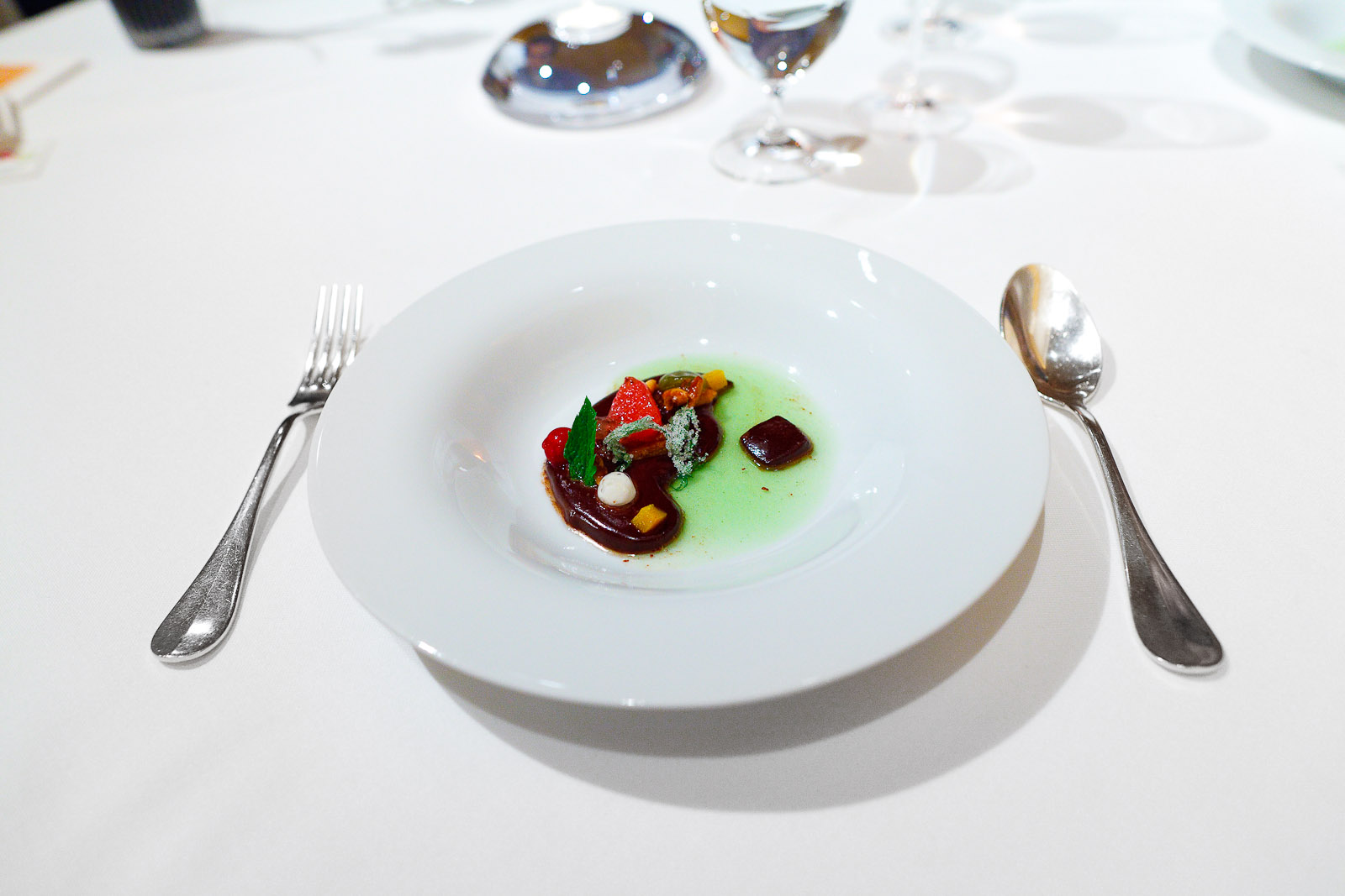12th Course: Black chocolate, mint, coconut, fruit, nuts, peppers