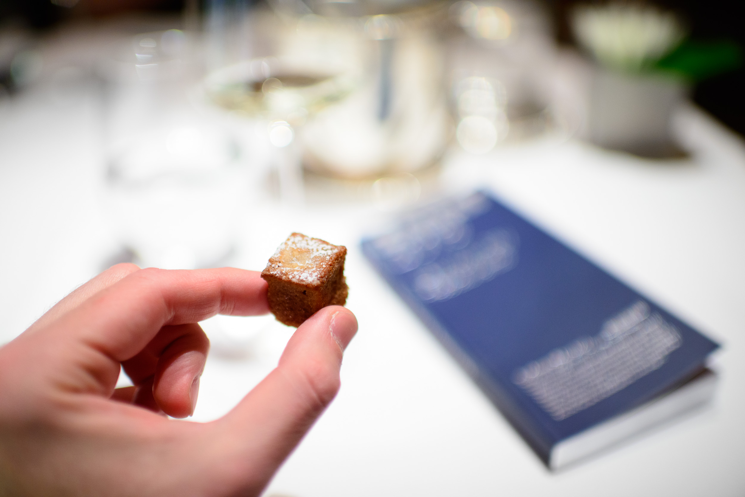 Petits fours: pear financier, up close