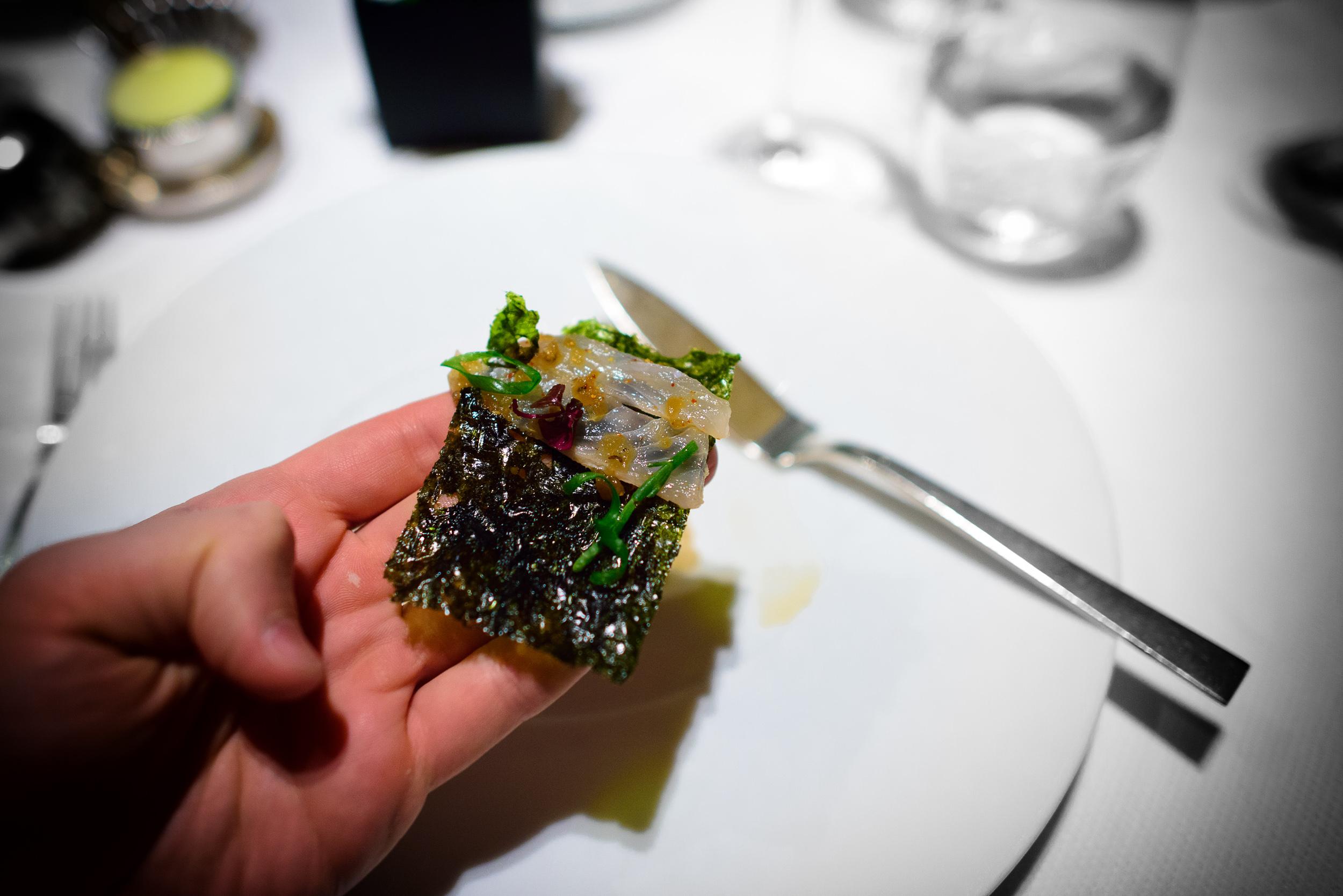 """Fluke; slivers of fluke, """"wasabi-nori crisp,"""" soy-black pepper v"""
