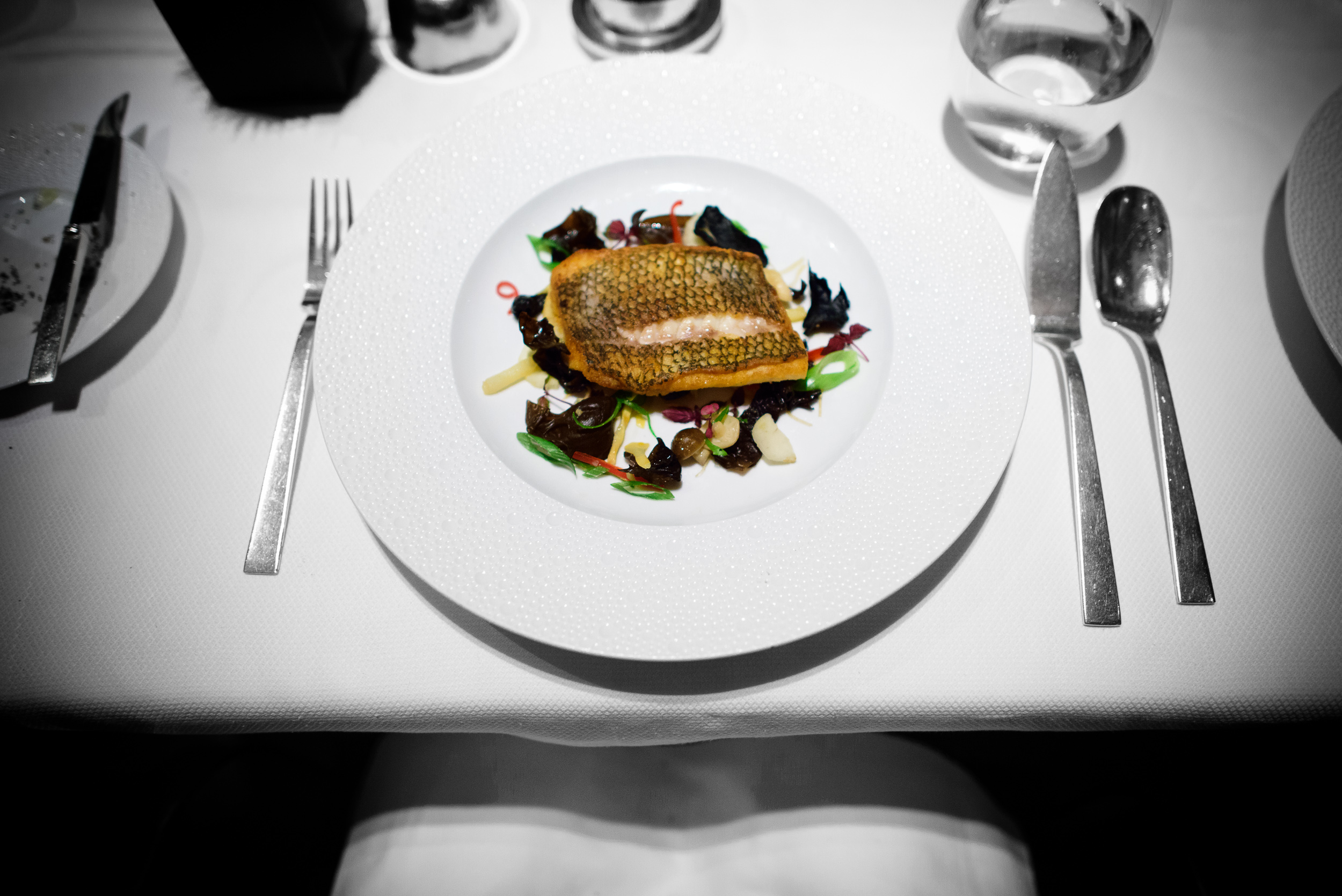 Black bass; crispy black bass, wood ears and water chestnuts, bl