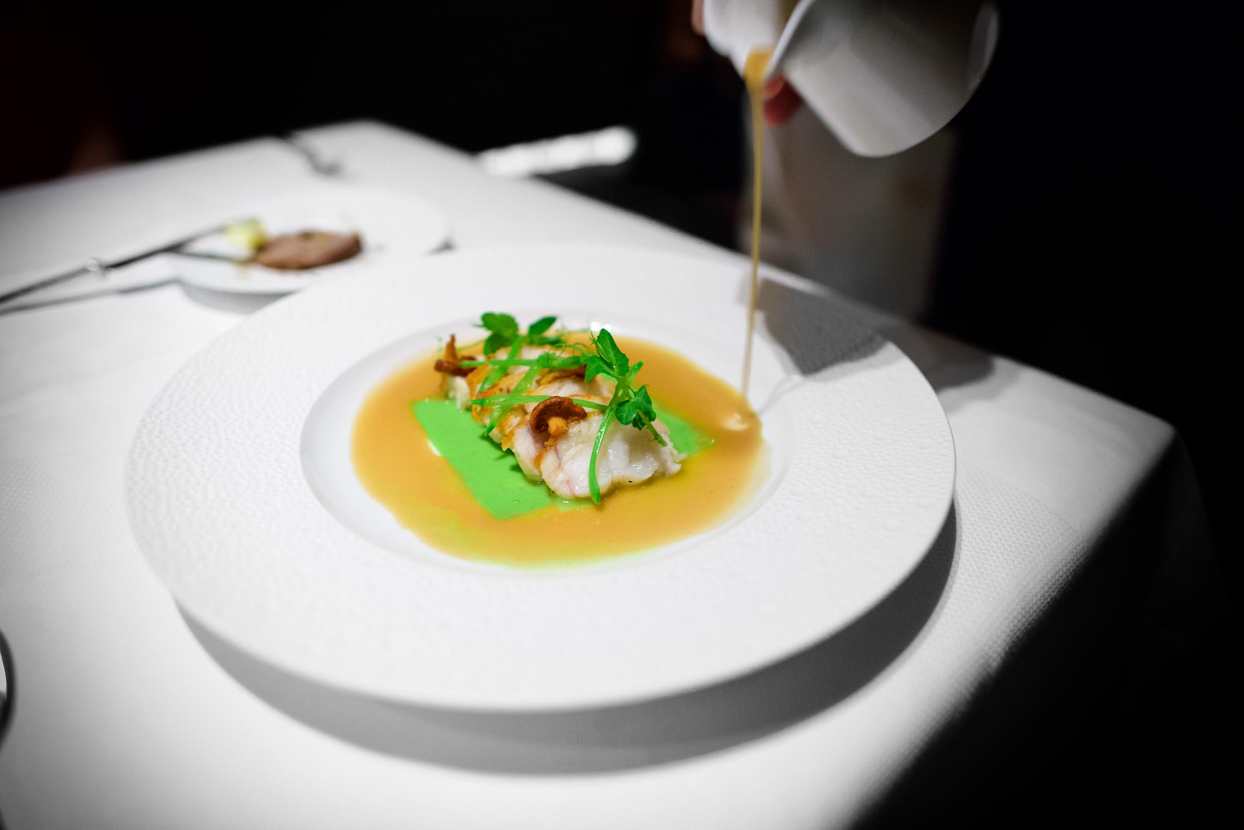 Monkfish; pan-roasted monkfish, tarragon scented pea puree, arma